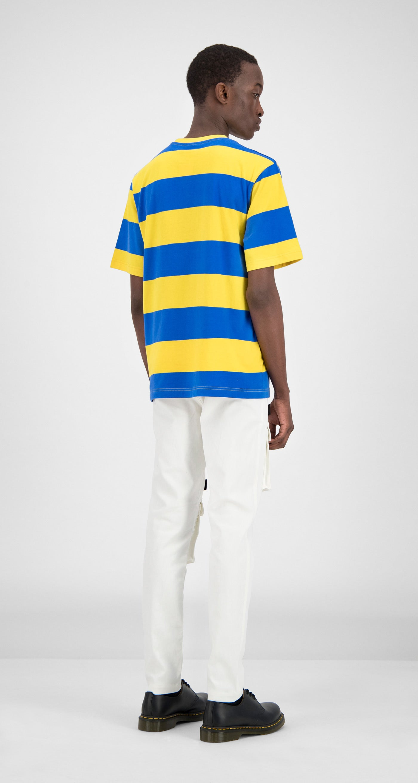 Daily Paper - Blue Yellow Striped T-Shirt Men Rear