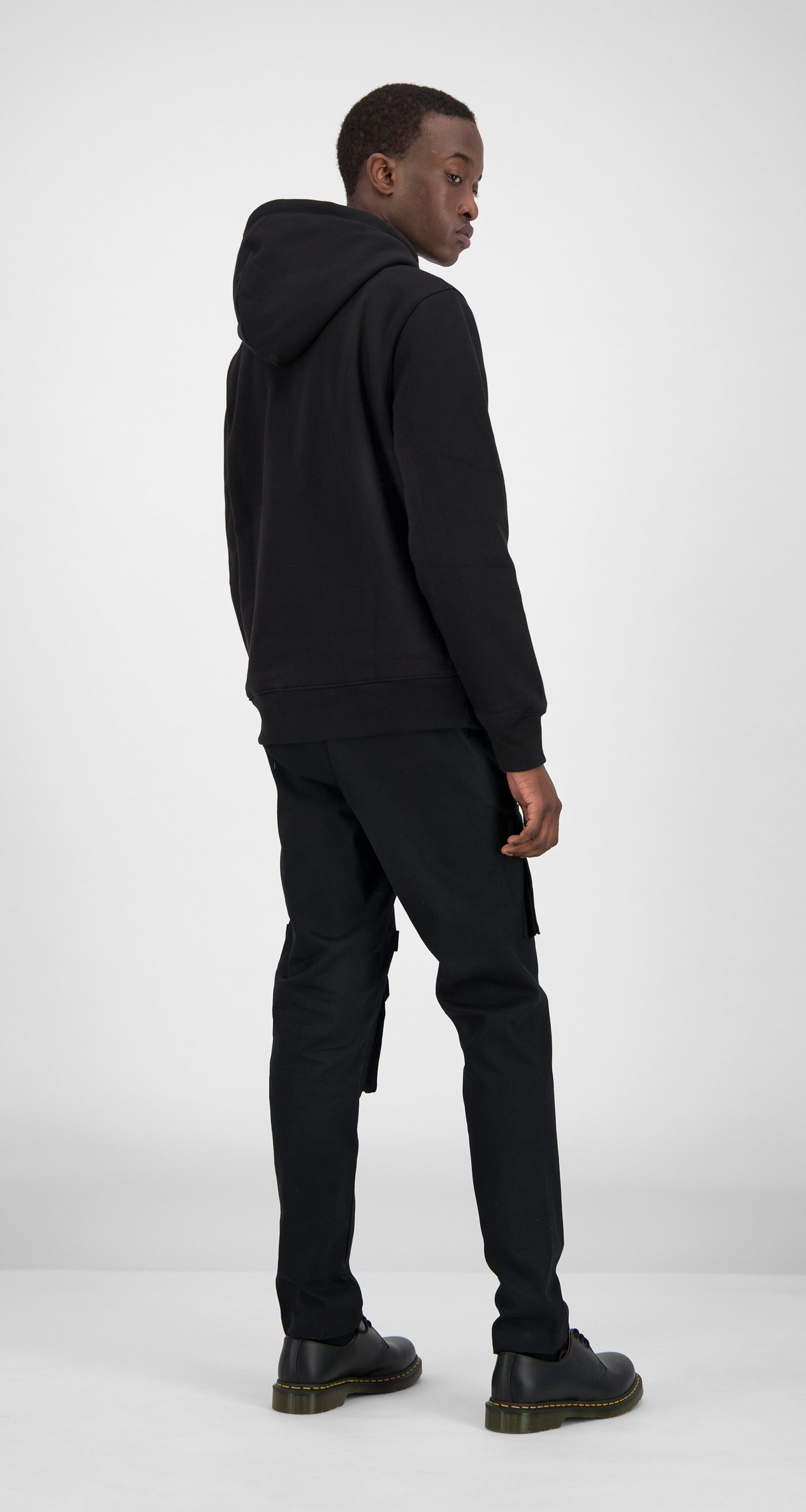 Daily Paper - Black Shield Logo Zipped Hoody - Men Rear