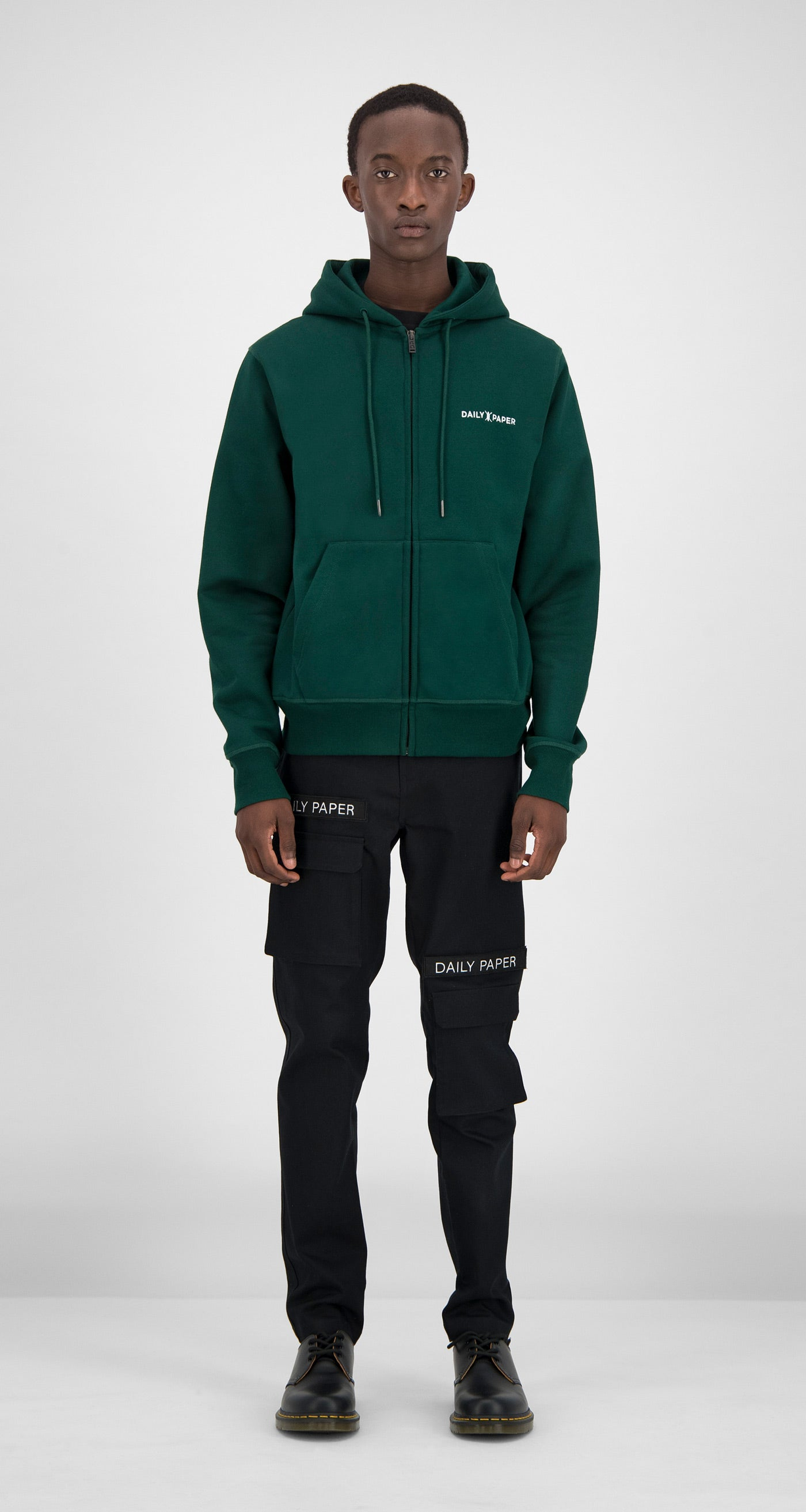 Daily Paper - Dark Green Shield Logo Zipped Hoody Men Front