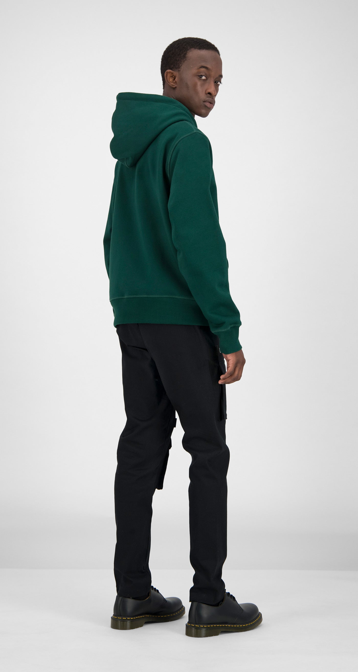 Daily Paper - Dark Green Shield Logo Zipped Hoody Men Rear