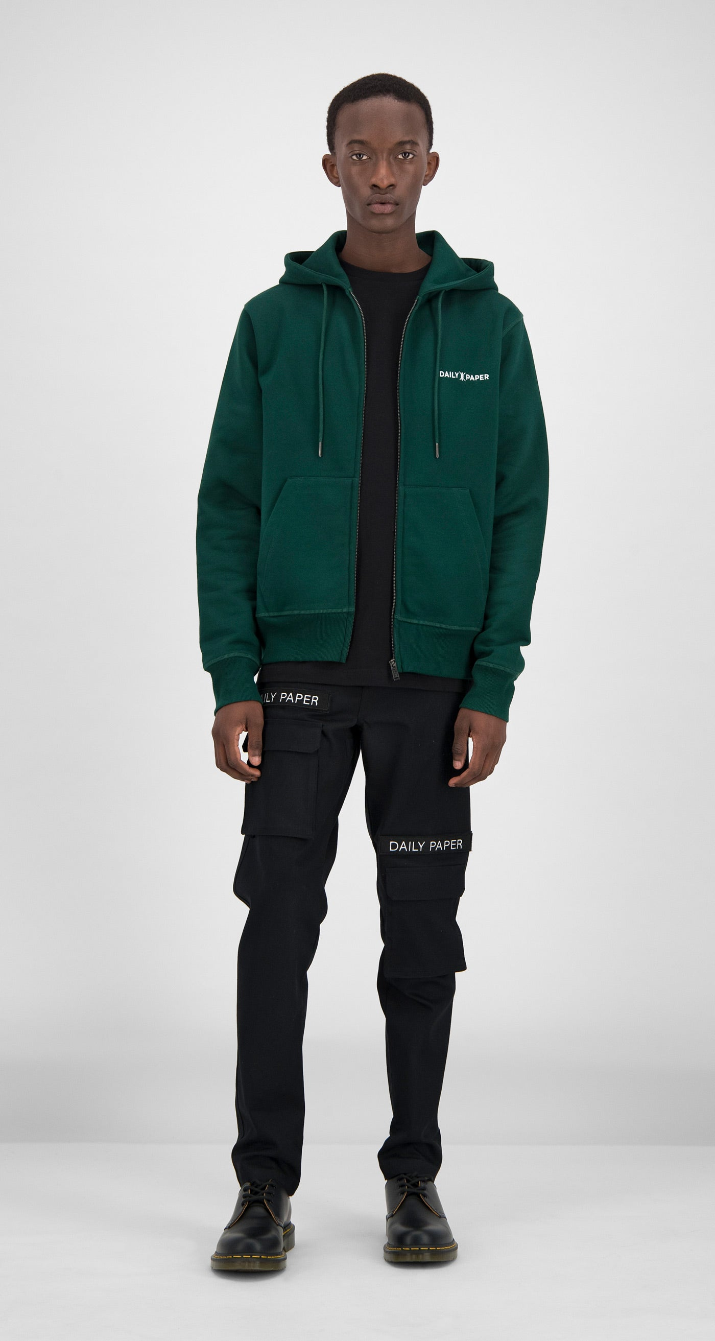 Daily Paper - Dark Green Shield Logo Zipped Hoody Men