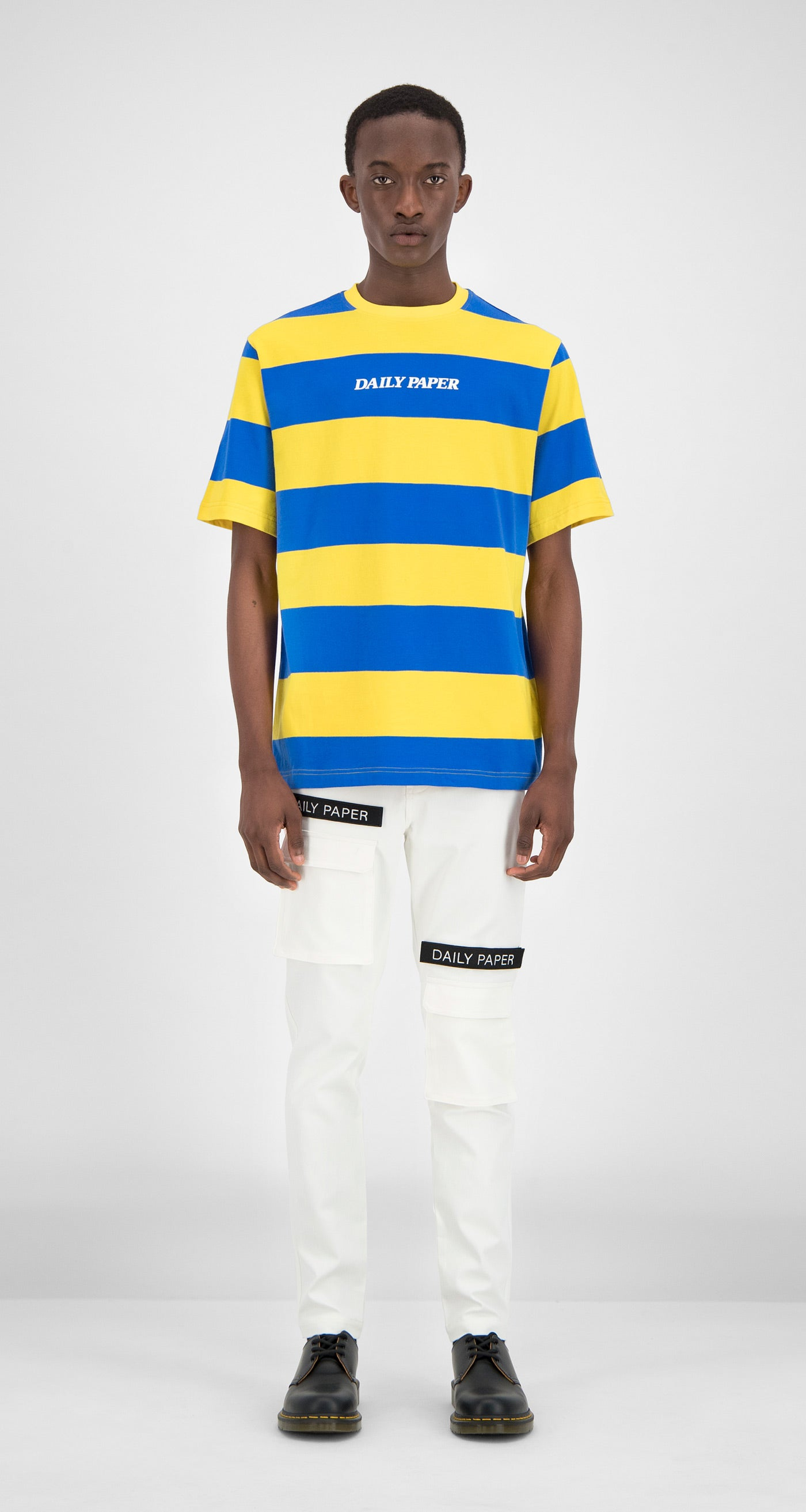 Daily Paper - Blue Yellow Striped T-Shirt Men Front