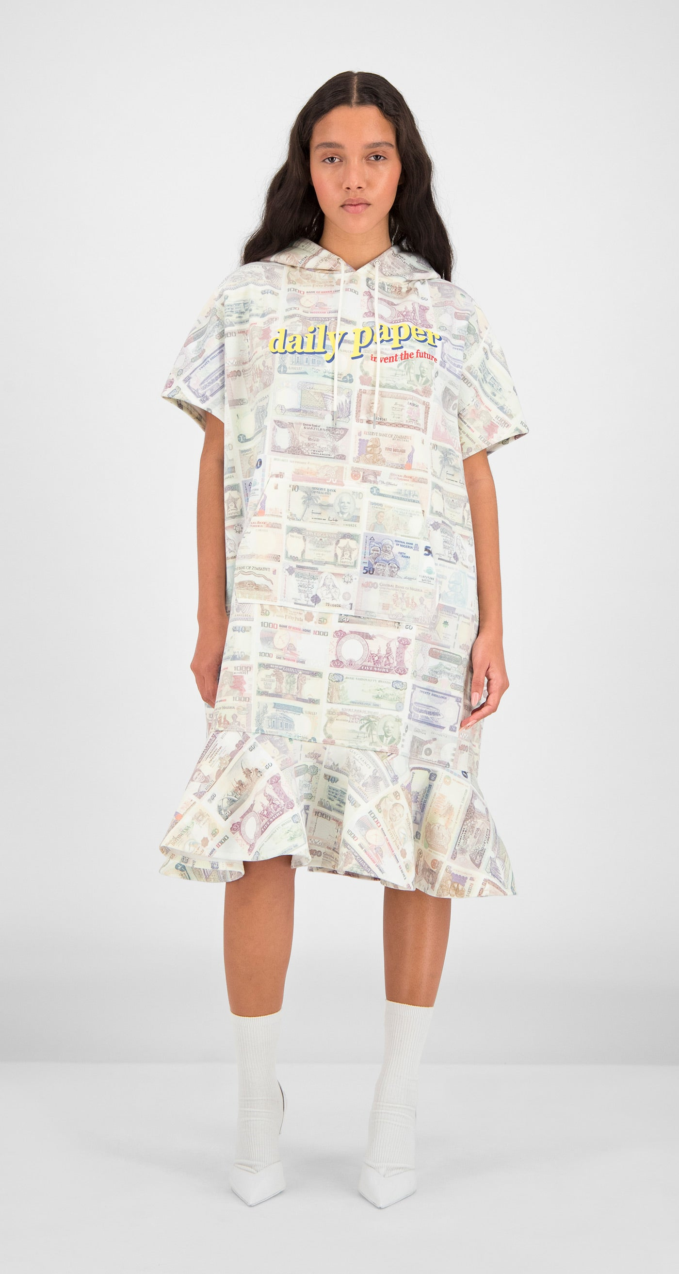 Daily Paper - Printed Money Flounce Dress Women Front