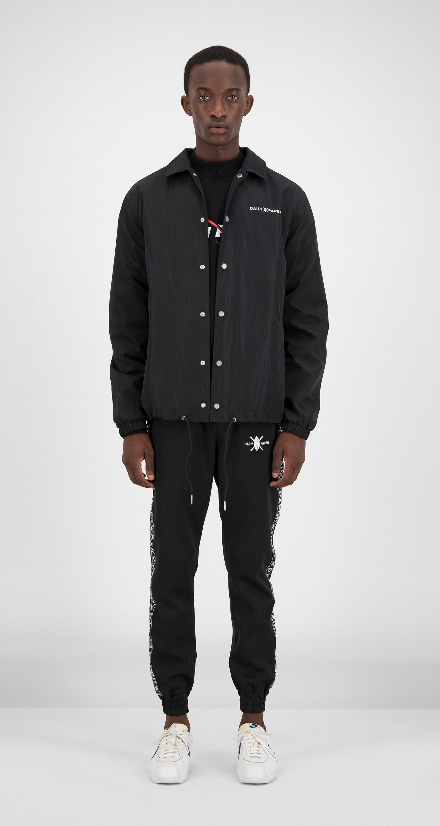 Daily Paper - Black Essential Coach Jacket Men Front