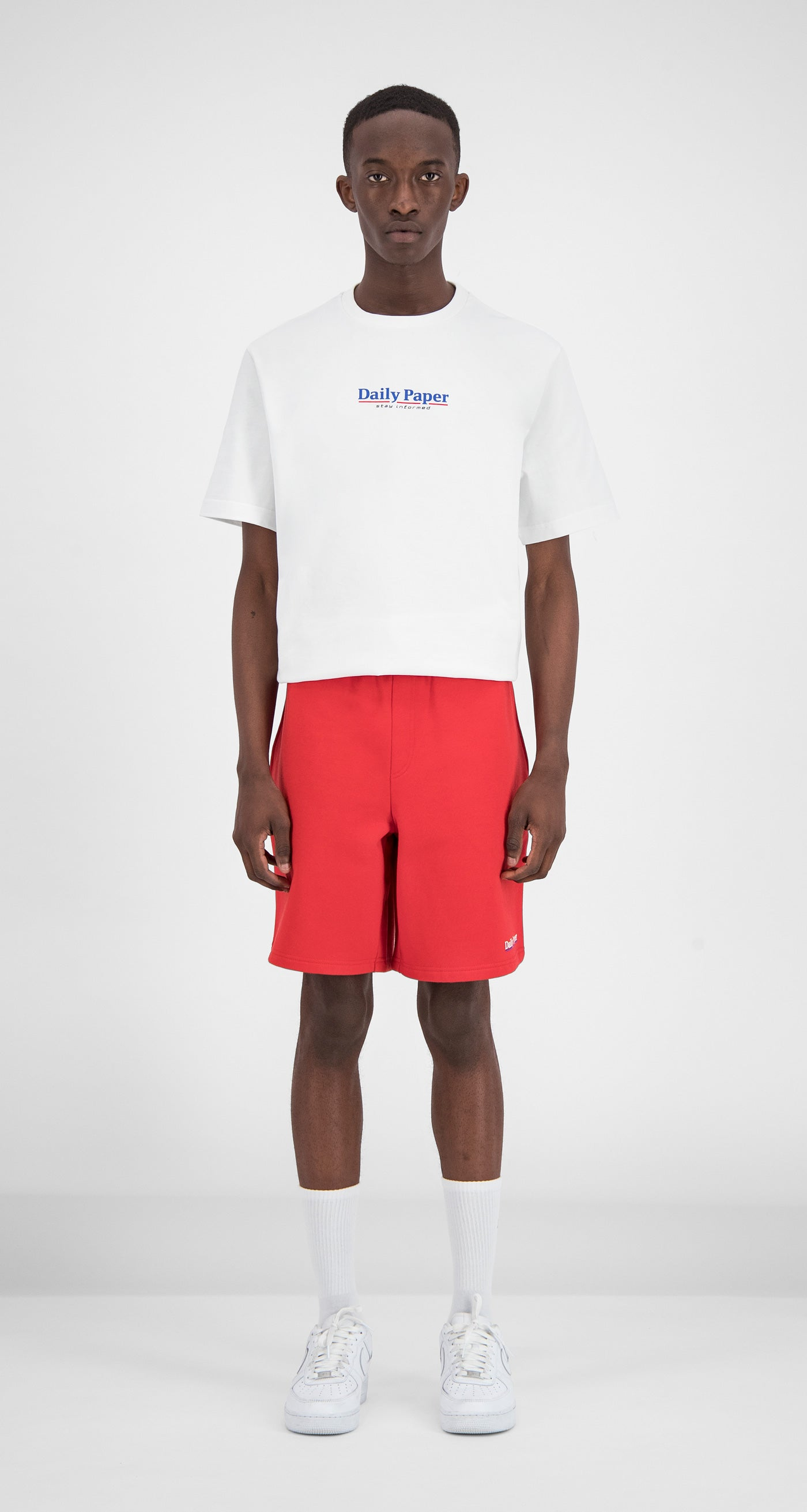 Daily Paper - Red Essential Fleece Short Men Front