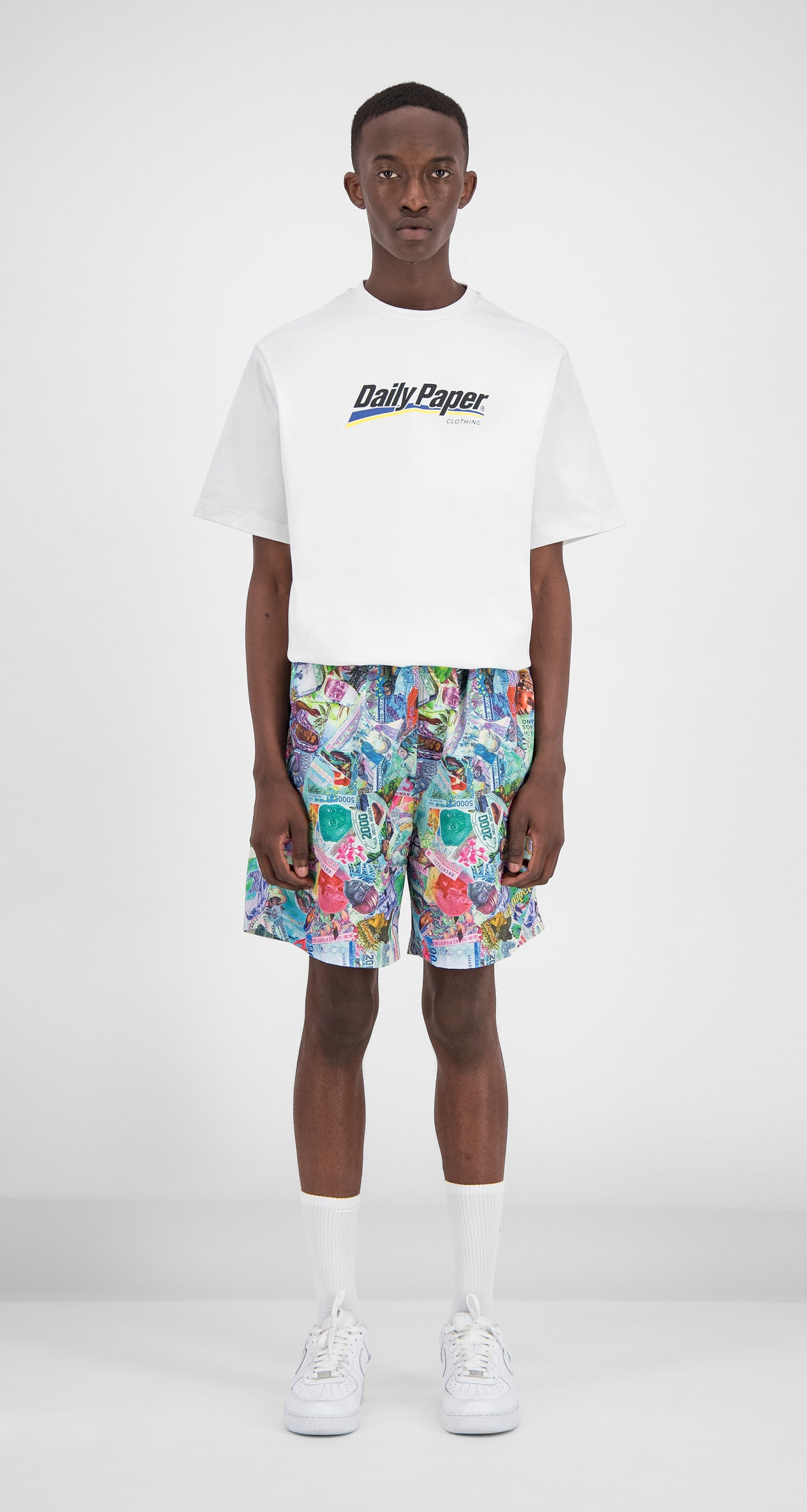 Daily Paper – Printed Money Collage Fali Swimshorts Men Front