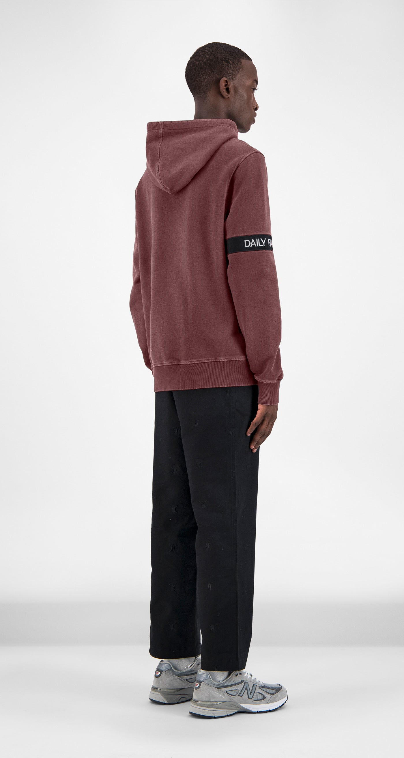 Burgundy Washed Captain Hoody - Men Rear