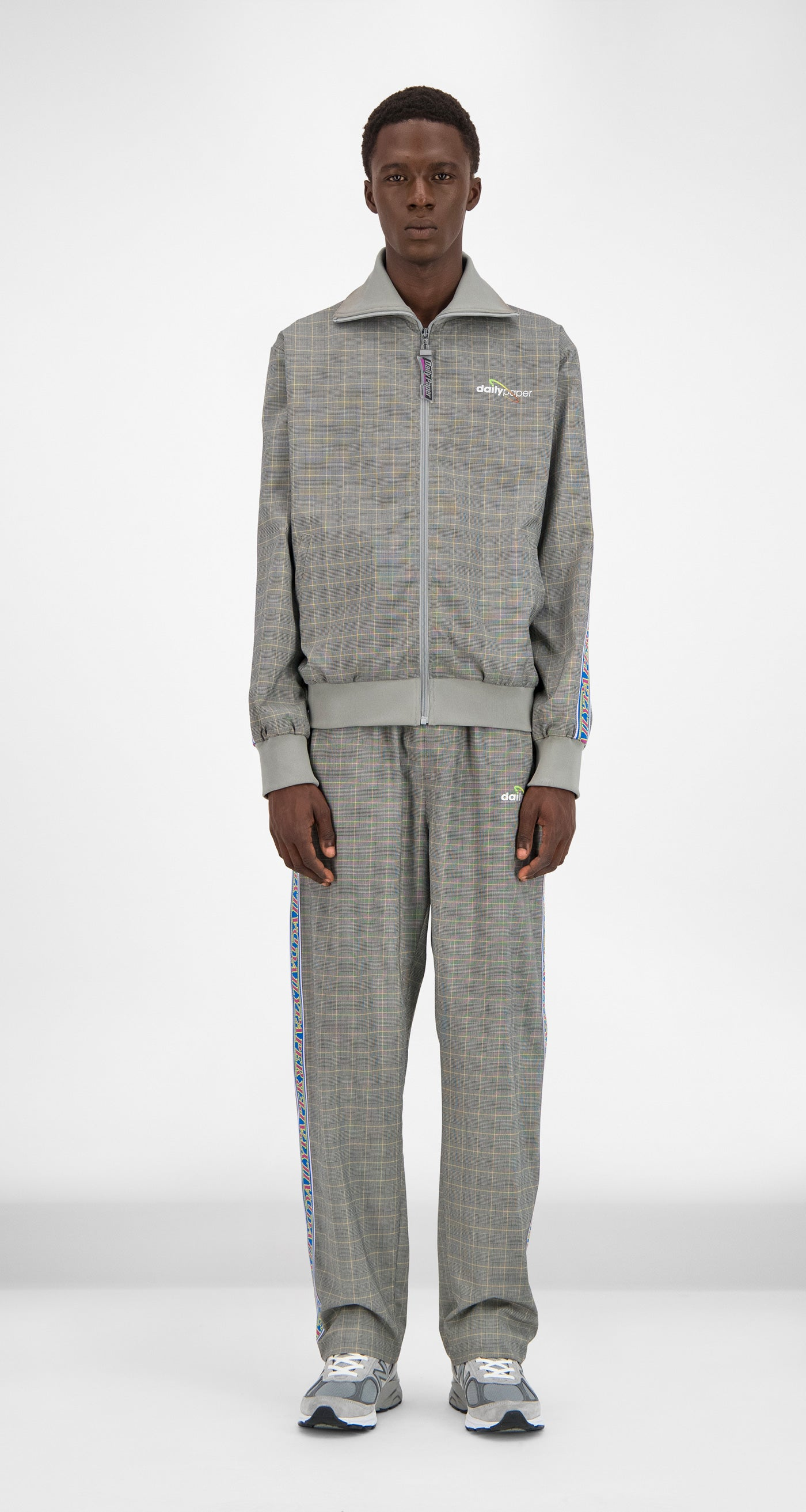 Daily Paper - Grey Yellow Checked Geed Jacket Men Front