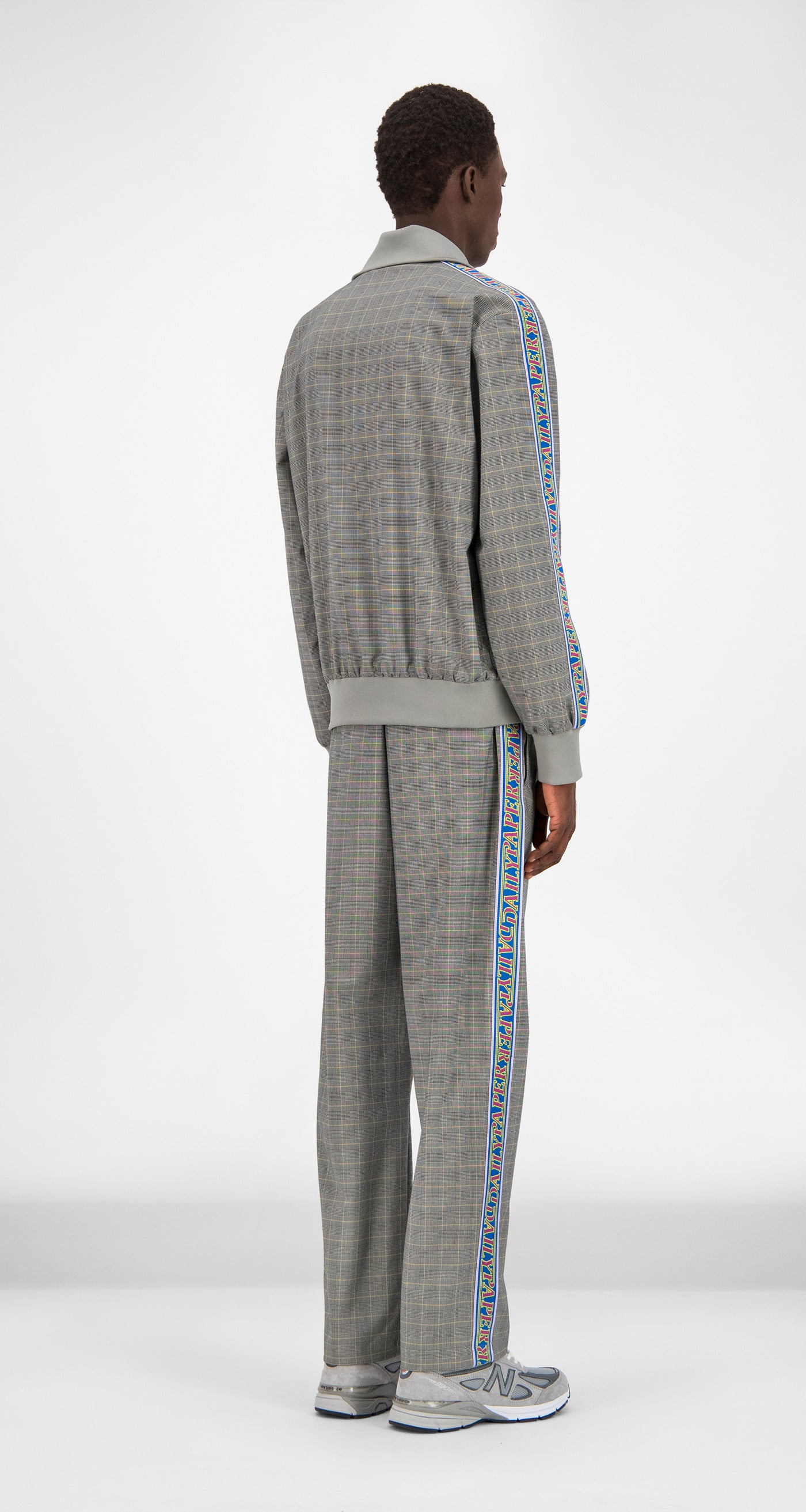 Daily Paper - Grey Yellow Checked Geed Jacket Men Rear
