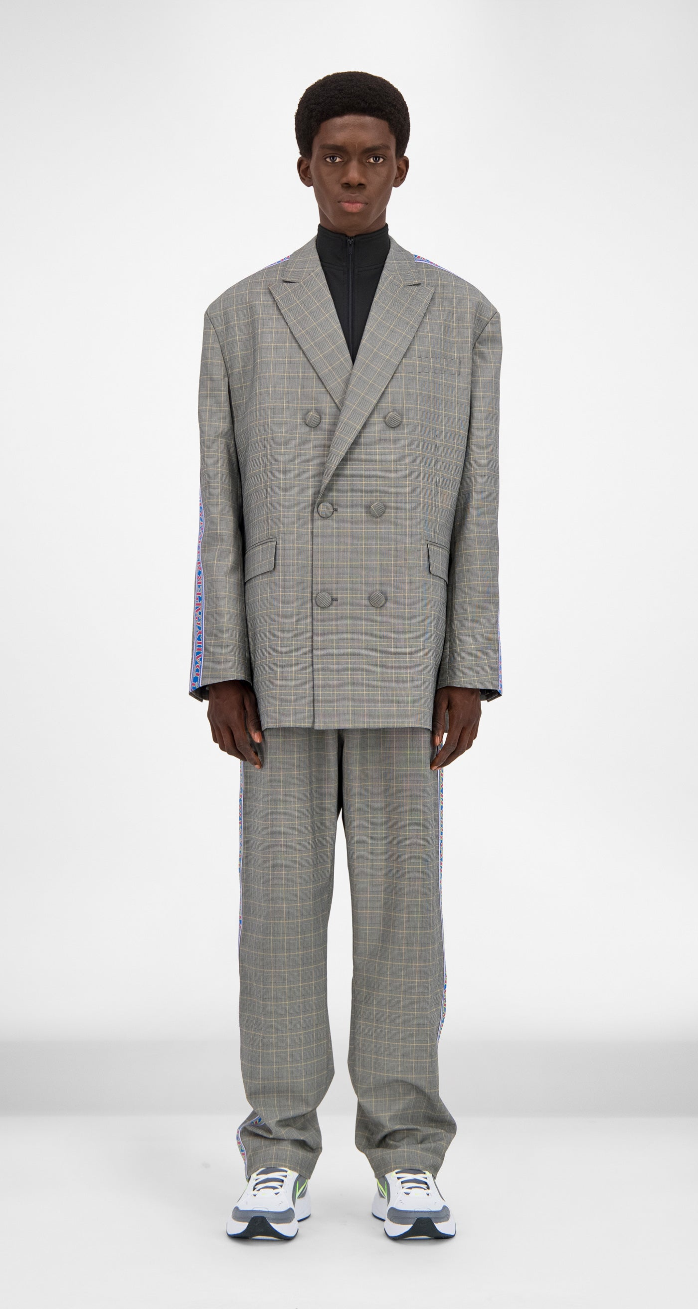 Daily Paper - Grey Yellow Checked Gecko Jacket Men Front