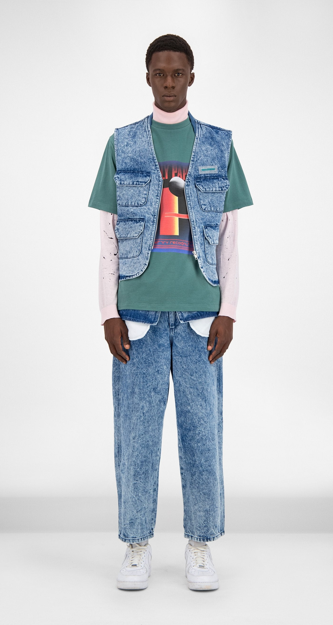 Daily Paper - Blue Denim Acid Wash Gafish Vest Men Front