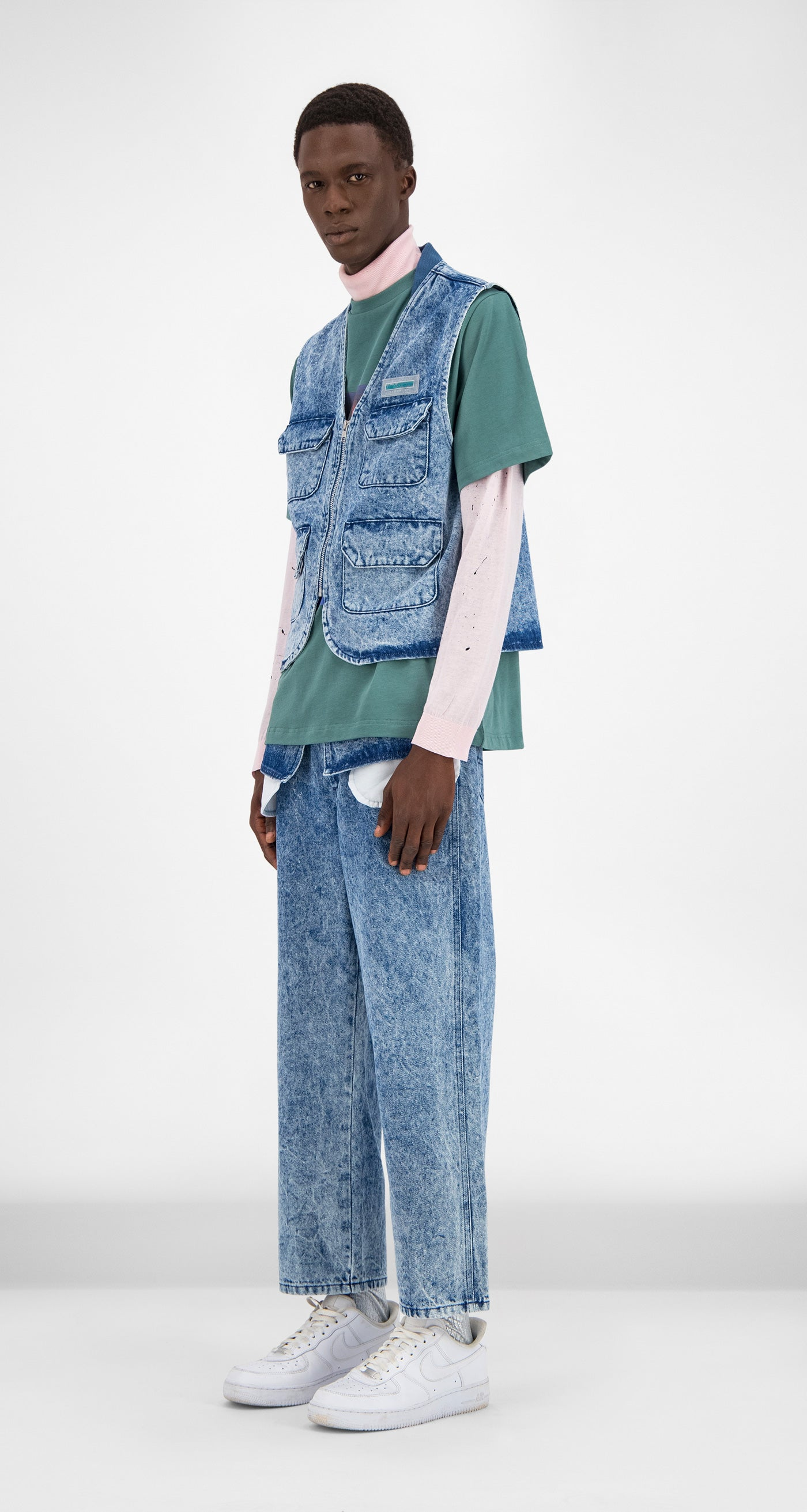 Daily Paper - Blue Denim Acid Wash Gafish Vest Men