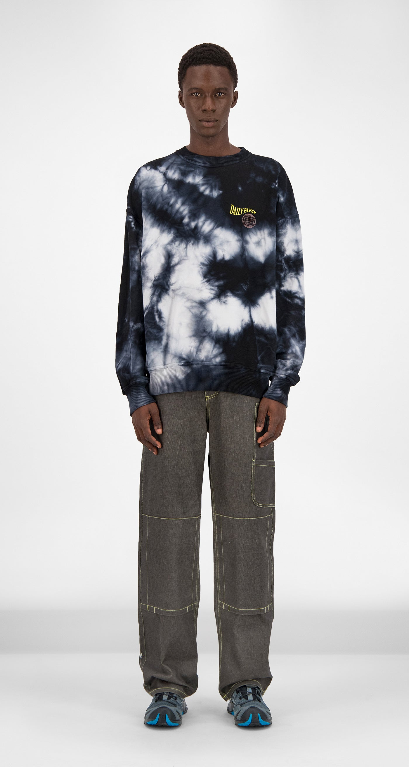 Daily Paper - Black White Tie Dye Gimtidy Sweater Men Front