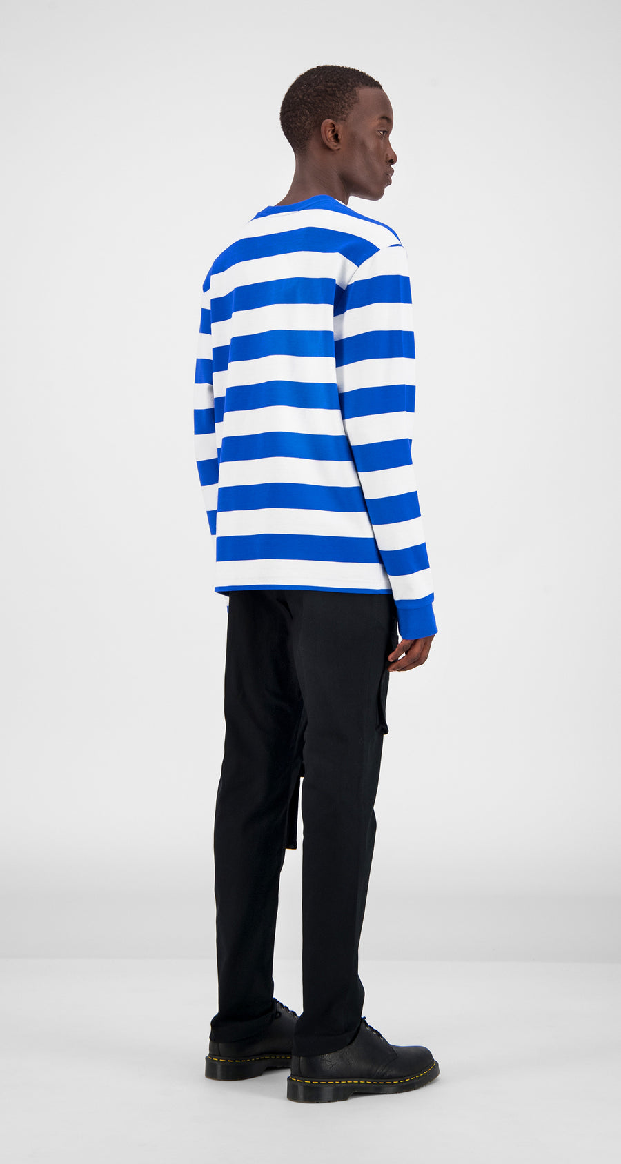 Blue Striped Longsleeve - Men Rear