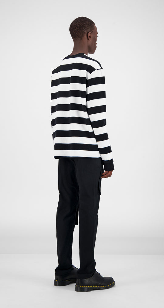 Black Striped Longsleeve - Men Rear