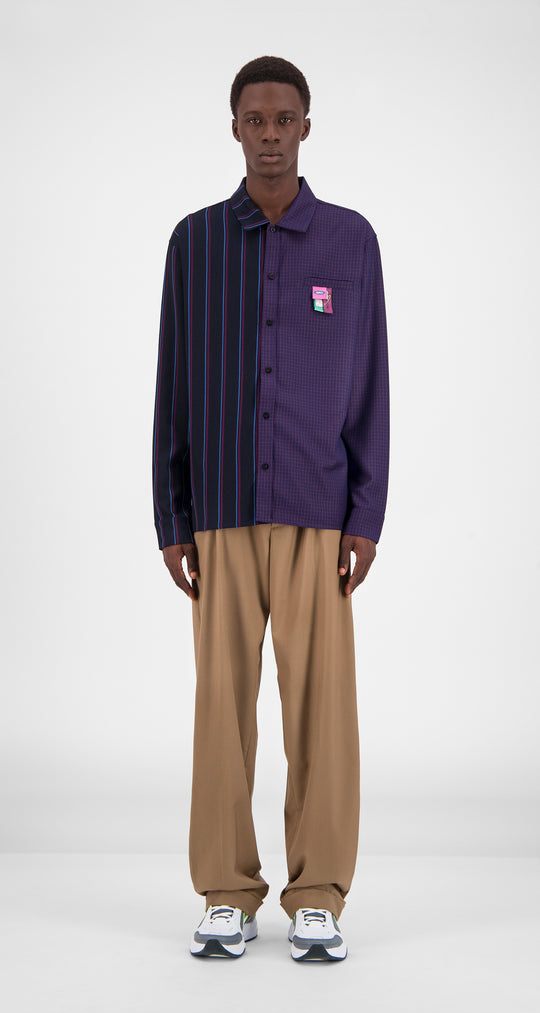 Daily Paper - Purple Stripe Checked Gisi Shirt Men Front