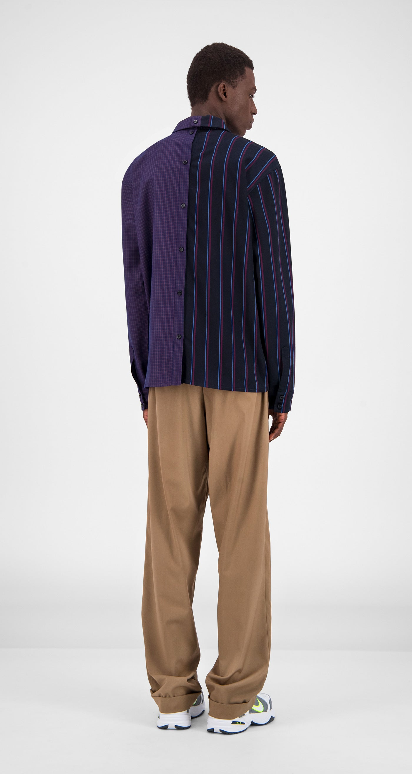 Daily Paper - Purple Stripe Checked Gisi Shirt Men Rear