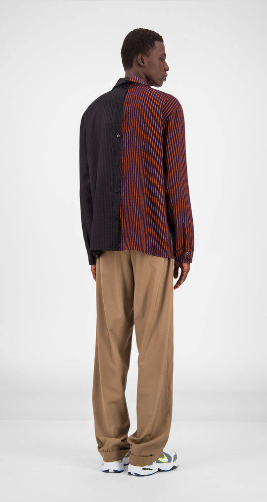Daily Paper - Brown Stripe Checked Gisi Shirt Men Rear