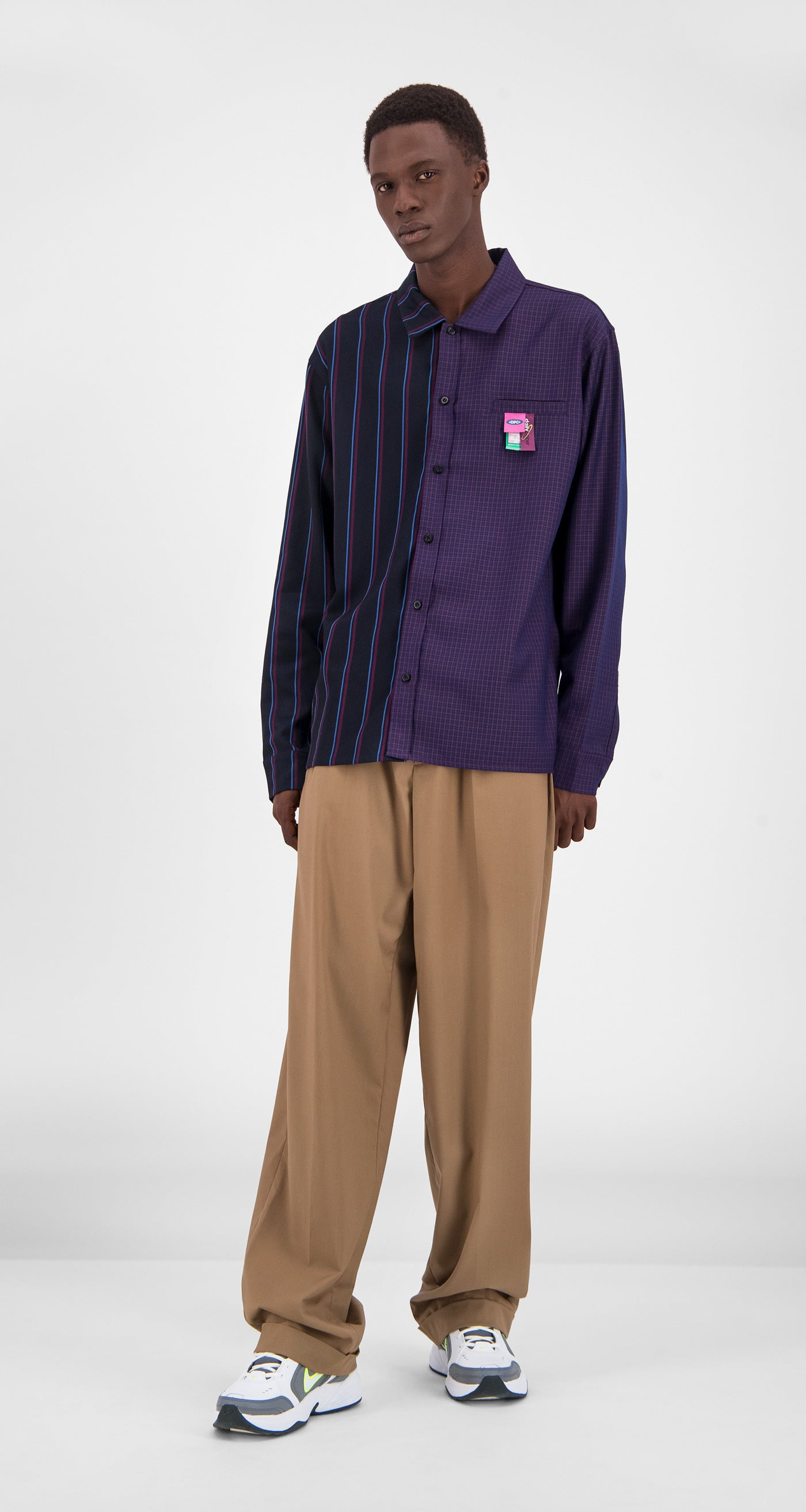 Daily Paper - Purple Stripe Checked Gisi Shirt Men