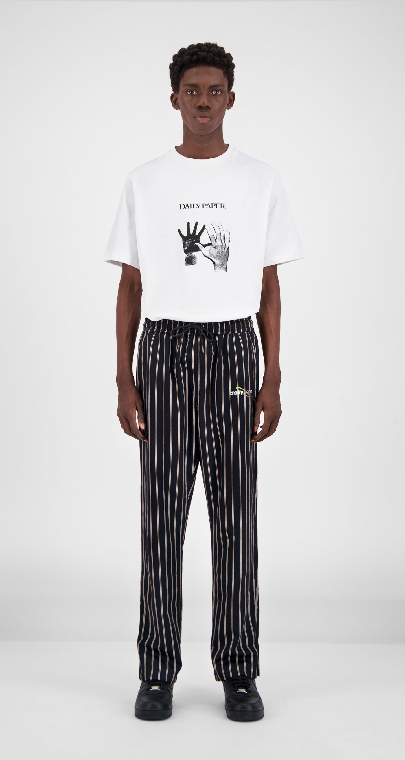 Daily Paper - Navy Stripe Gezip Stripe Pants Men Front