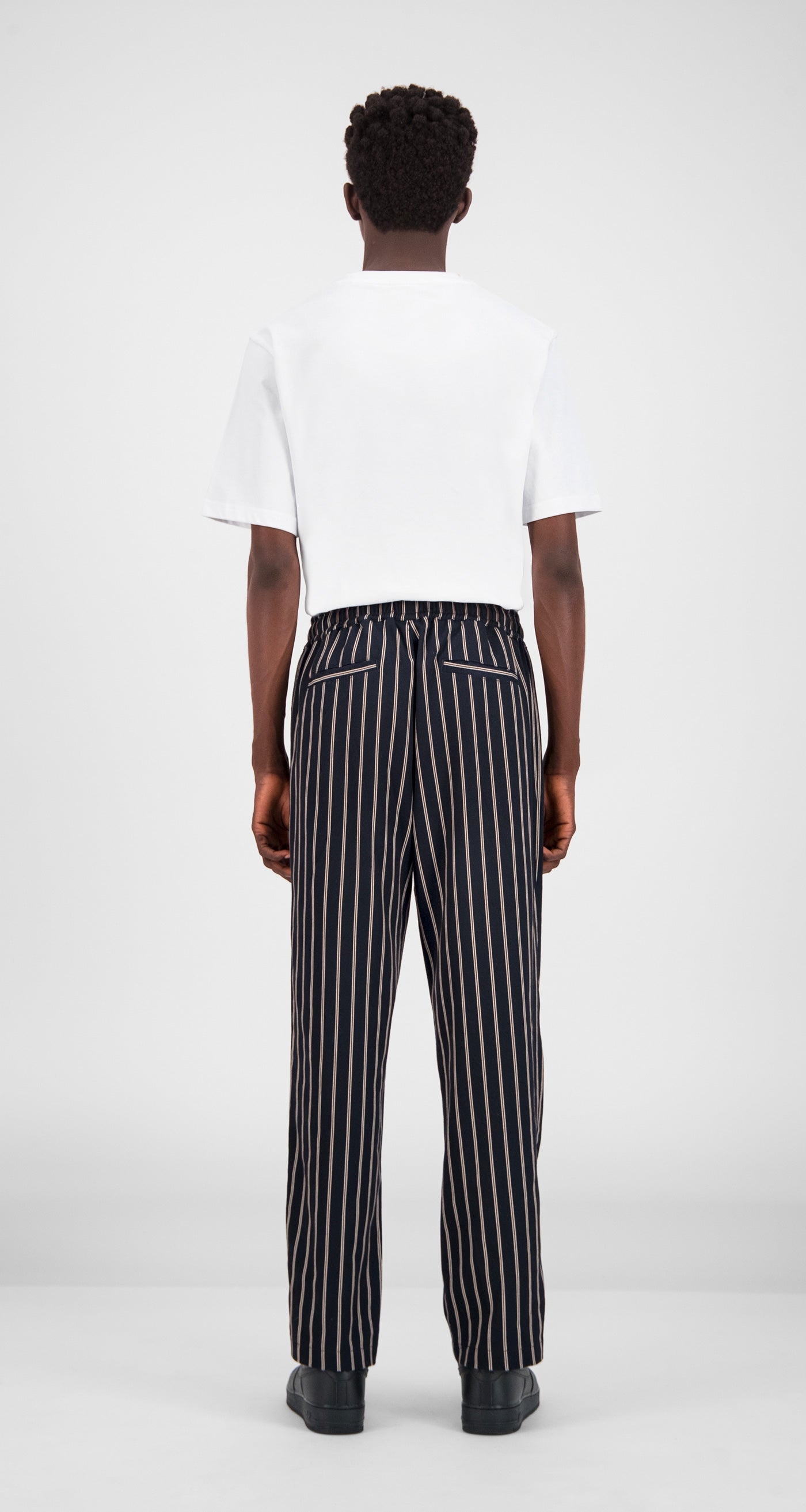 Daily Paper - Navy Stripe Gezip Stripe Pants Men Rear