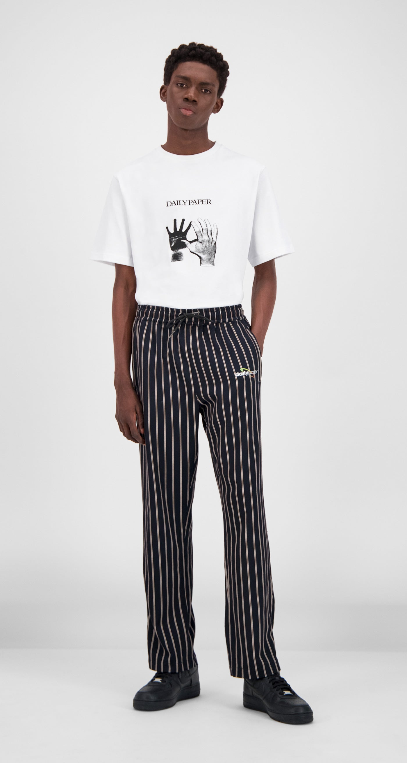 Daily Paper - Navy Stripe Gezip Stripe Pants Men