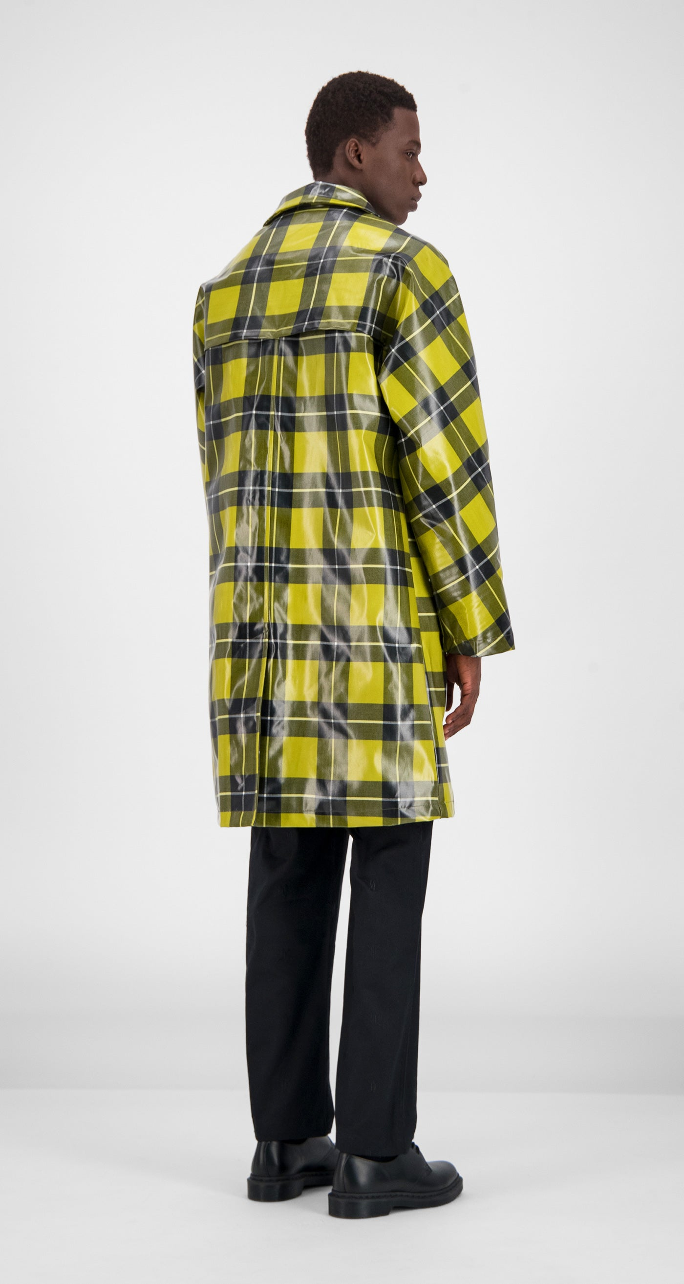 Yellow Checked Gain Jacket - Men Rear