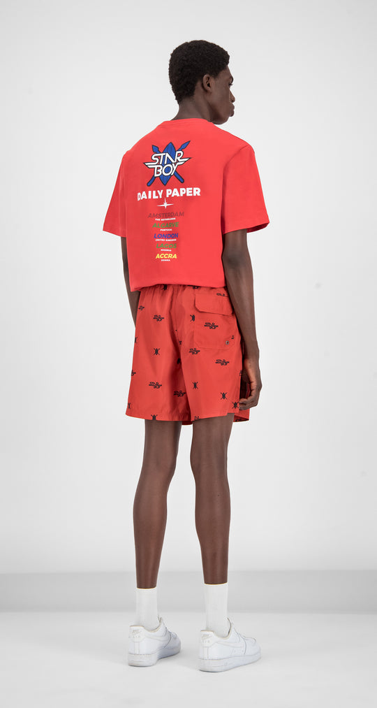 Daily Paper x STARBOY Red Swim Shorts - Men Rear