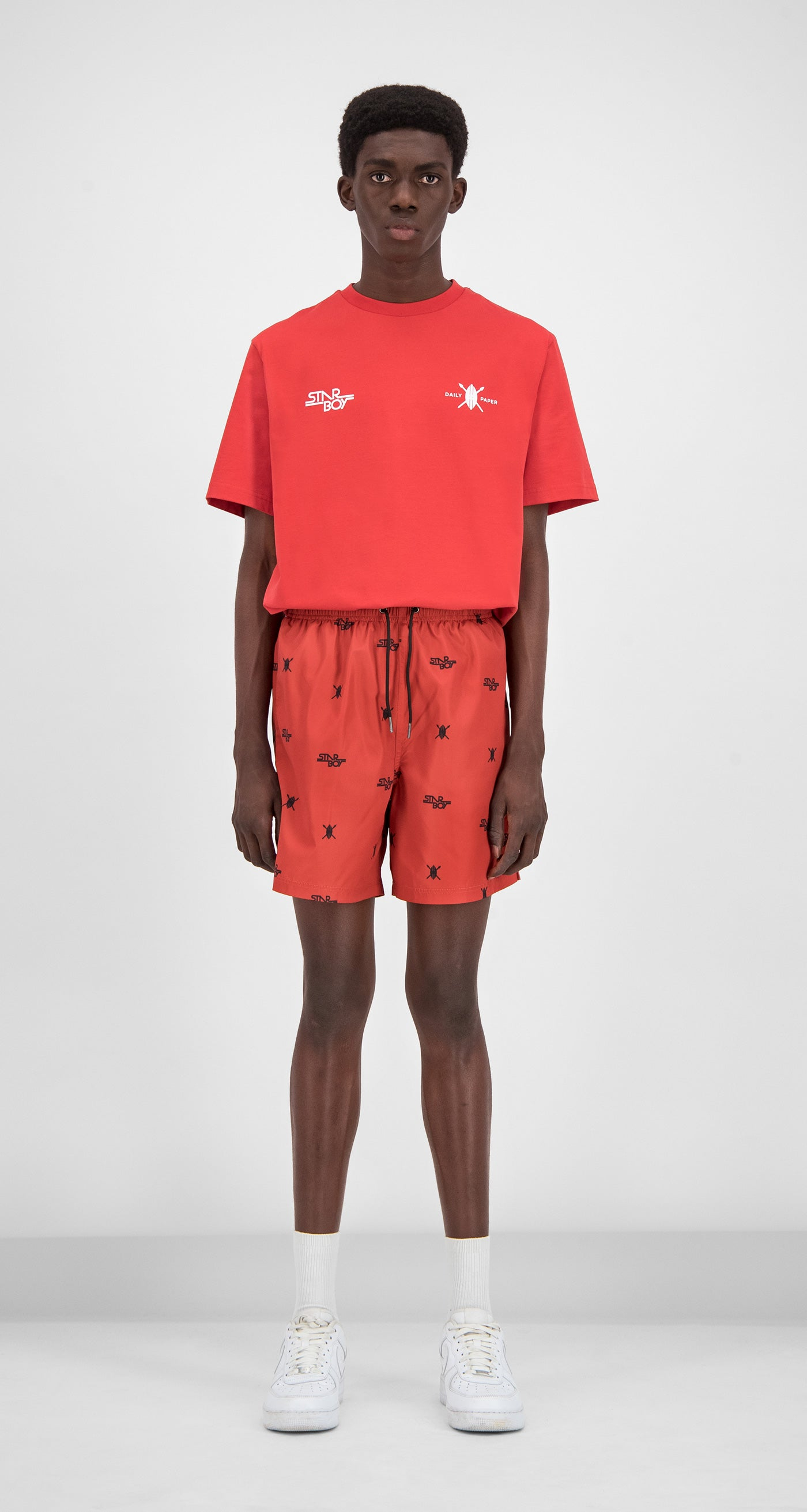 Daily Paper x STARBOY Red Swim Shorts - Men Front