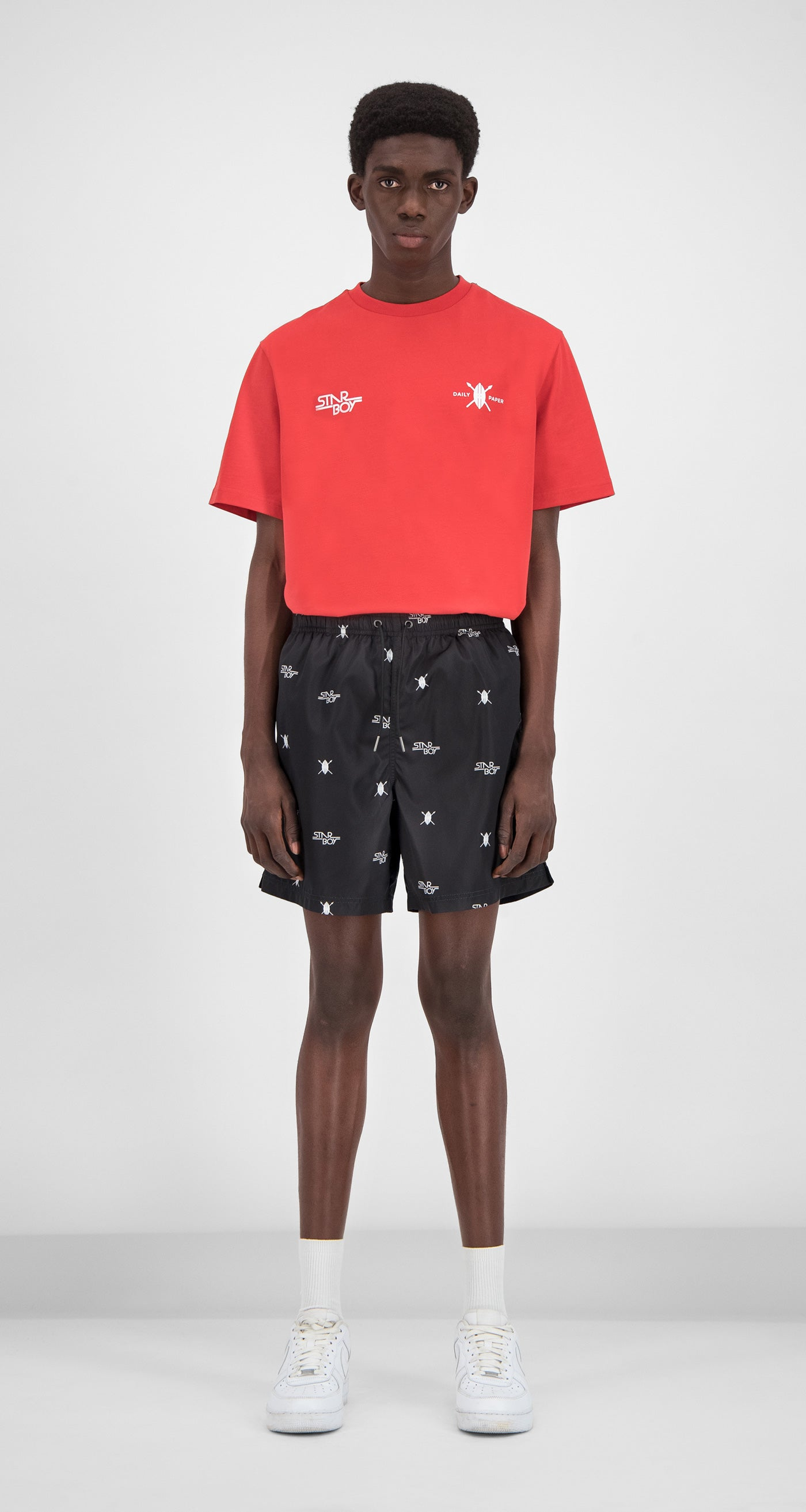 Daily Paper x STARBOY Black Swim Shorts - Men Front