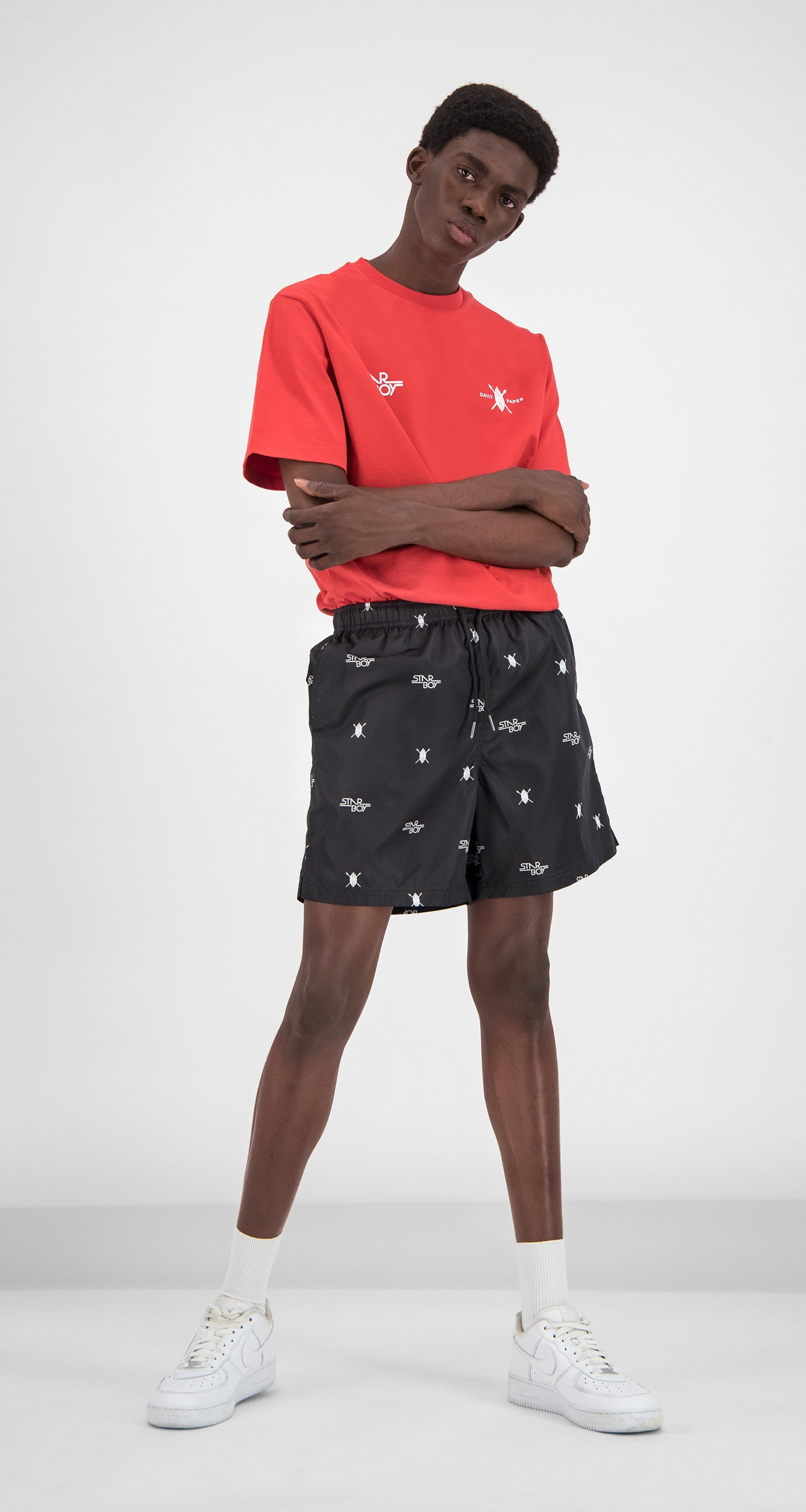 Daily Paper x STARBOY Black Swim Shorts - Men Rear