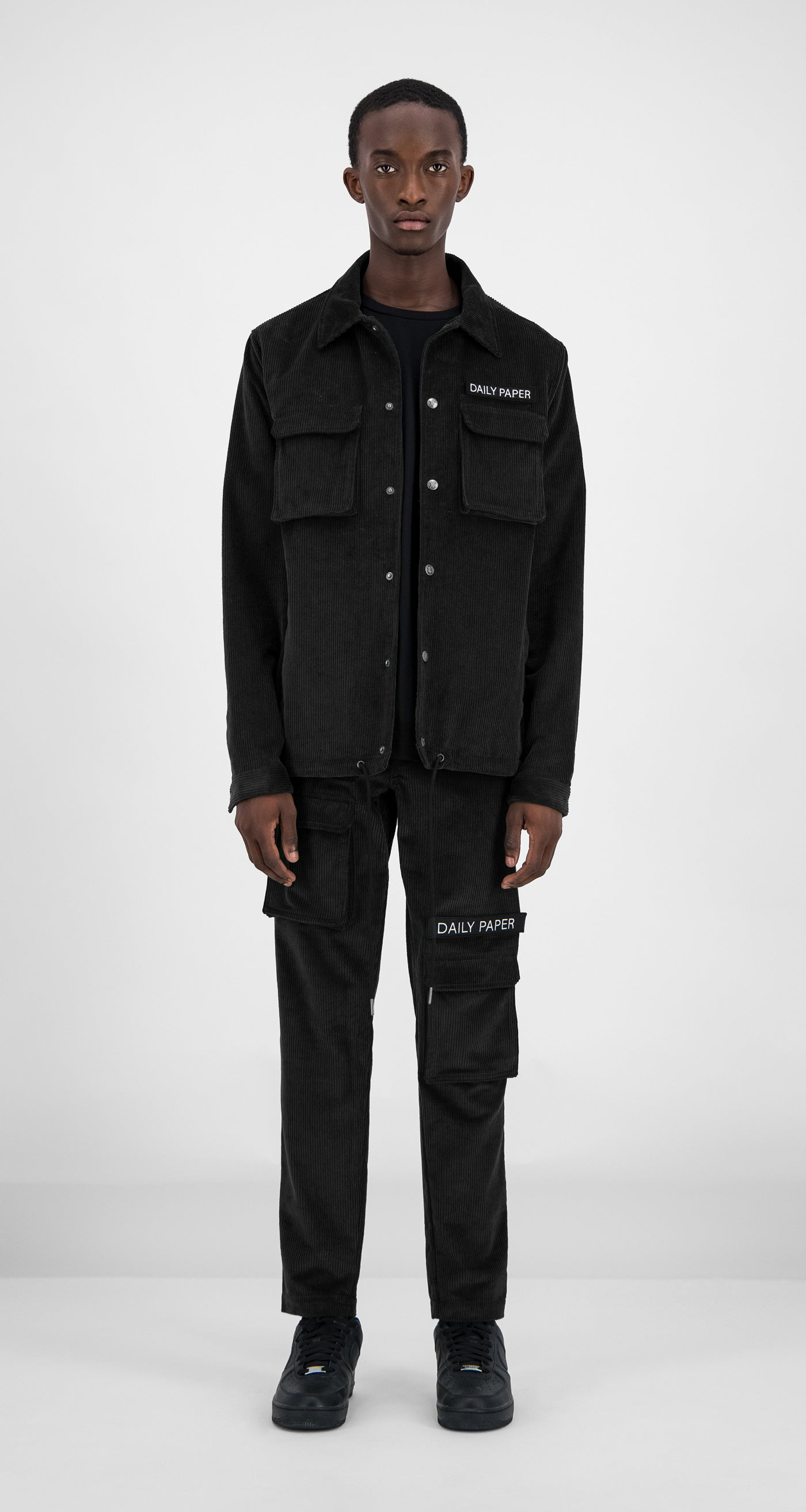 Daily Paper - Black Corduroy Cargo Jacket Men Front
