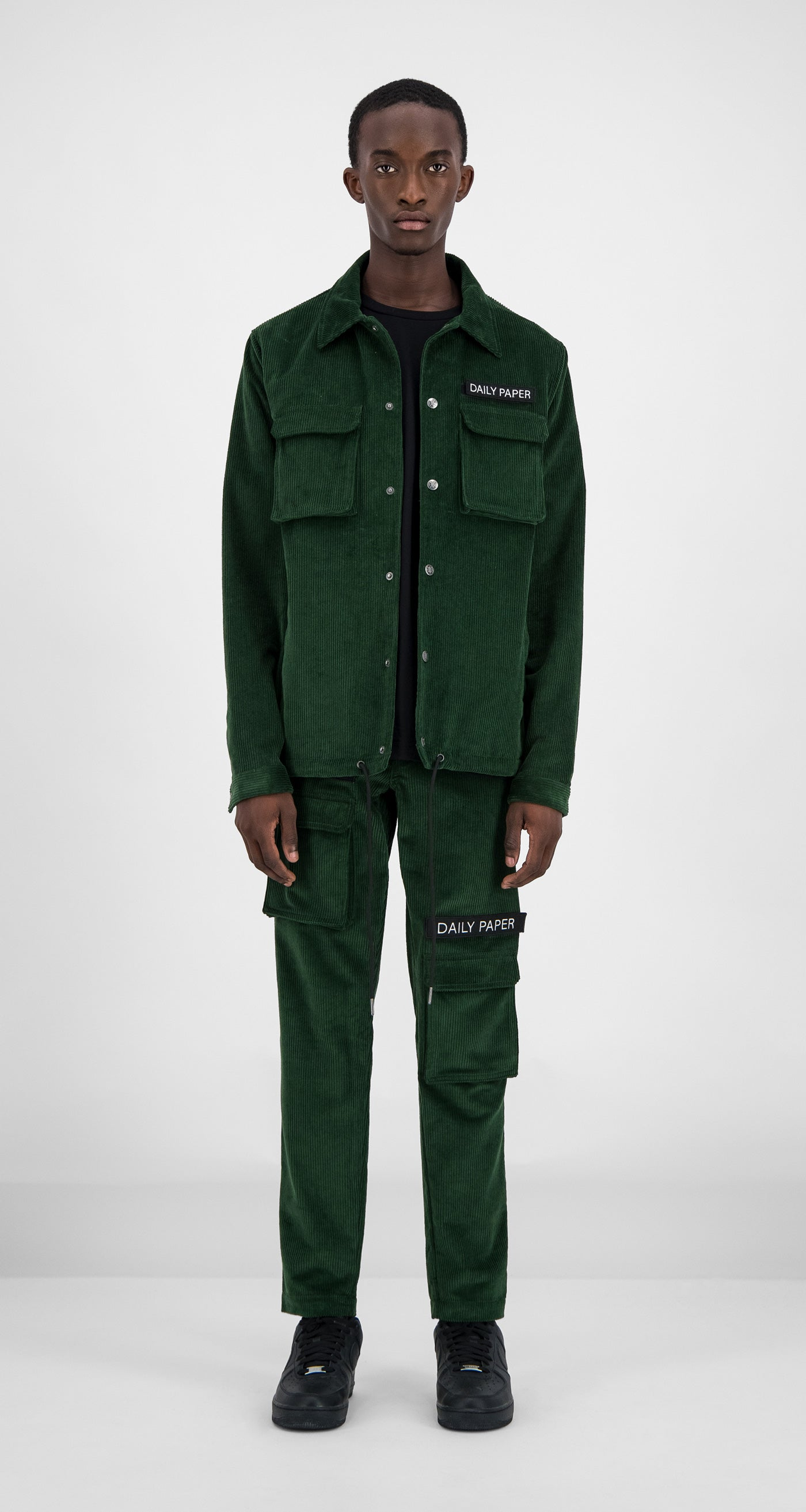 Daily Paper - Green Corduroy Cargo Jacket Men Front