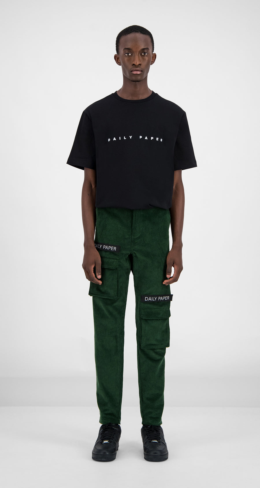Daily Paper - Green Corduroy Cargo Pants Men Front