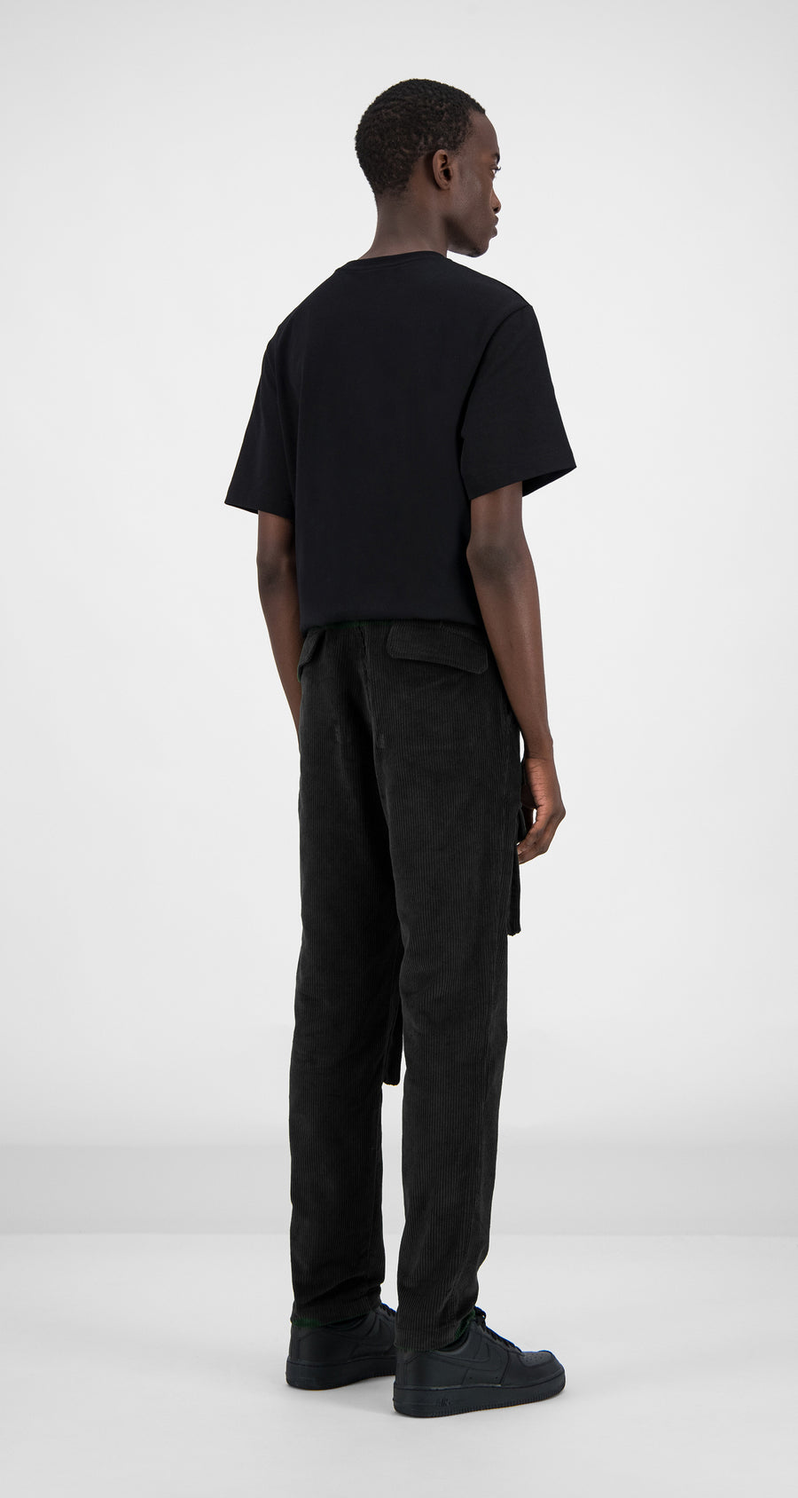 Daily Paper - Black Corduroy Cargo Pants Men Rear
