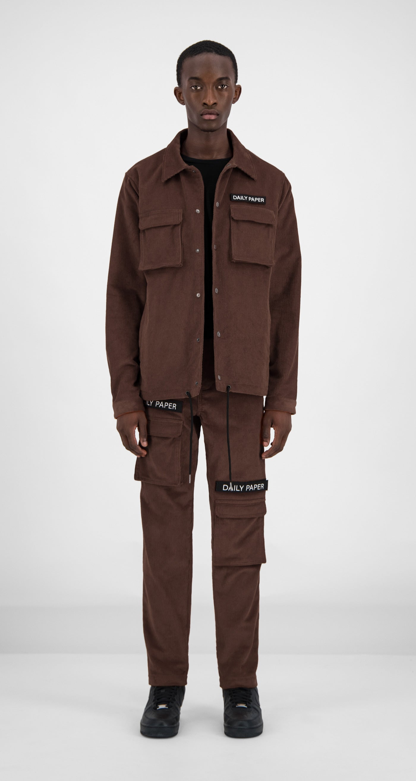 Daily Paper - Brown Corduroy Cargo Jacket Men Front