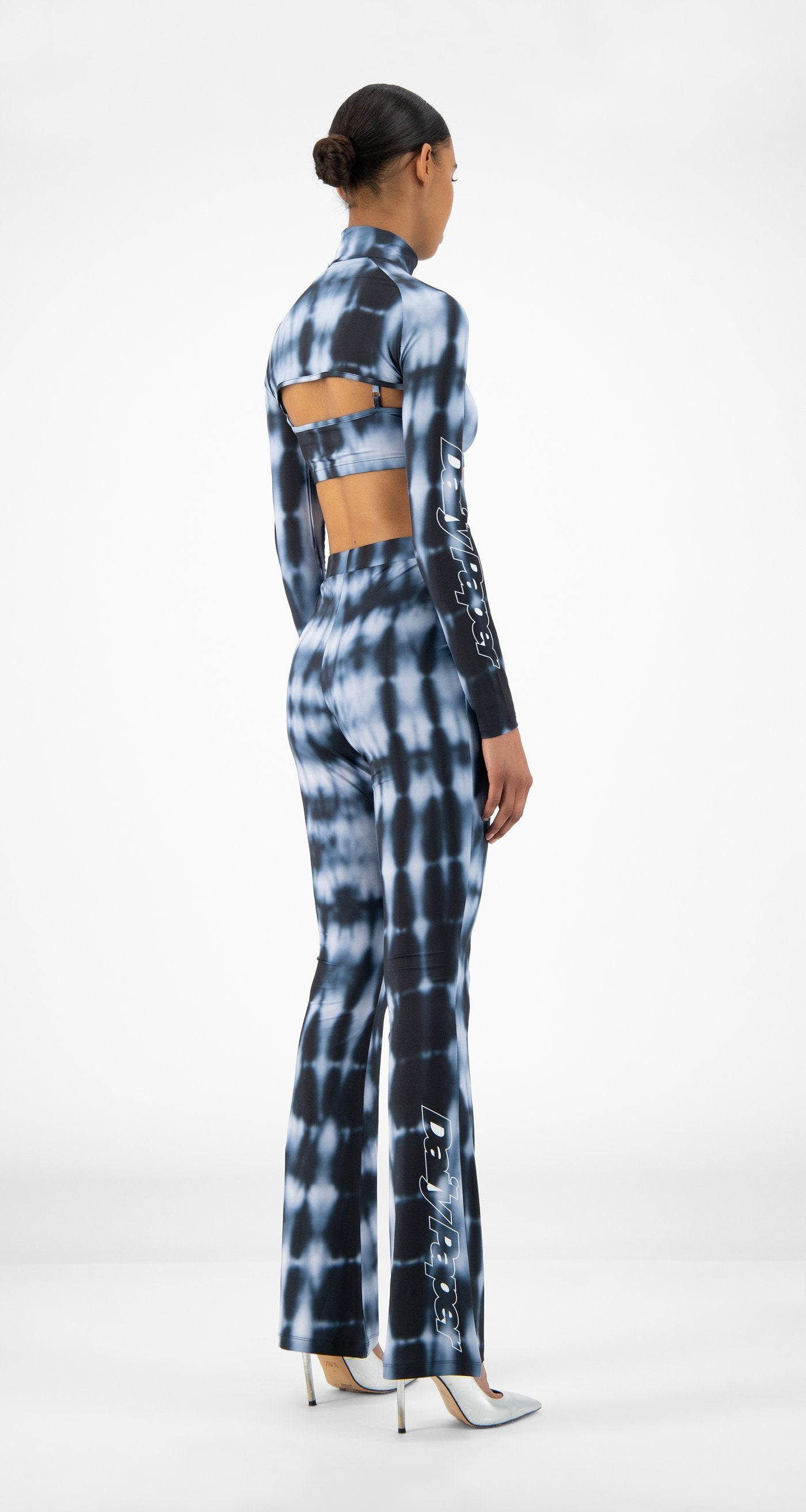 Daily Paper - Blue Shibori Reflare Pants - Women Rear