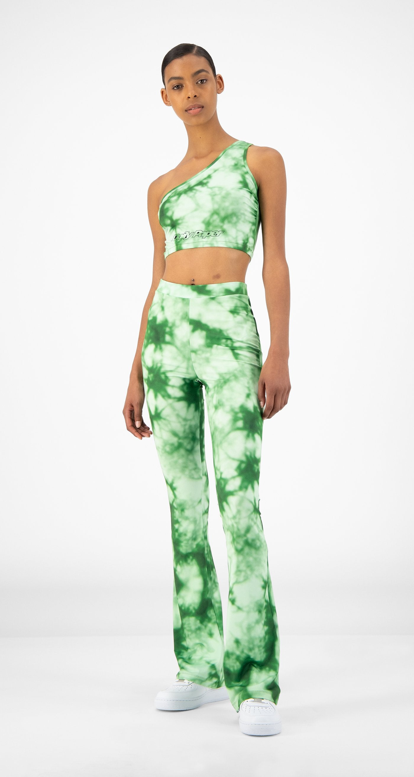 Daily Paper - Green Tie Dye Reflare Pants - Women Front