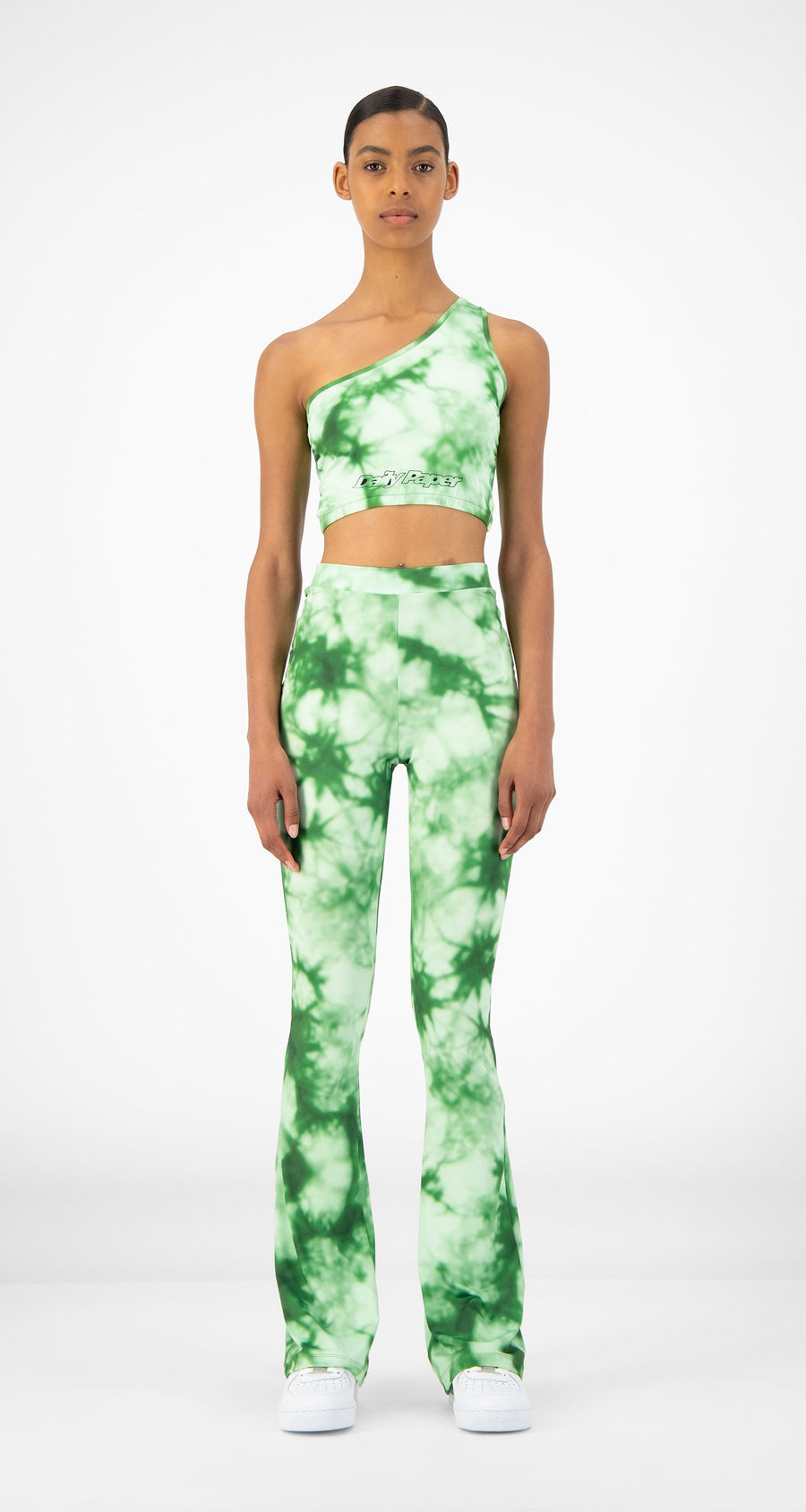 Daily Paper - Green Tie Dye Resymetric Top - Women Front
