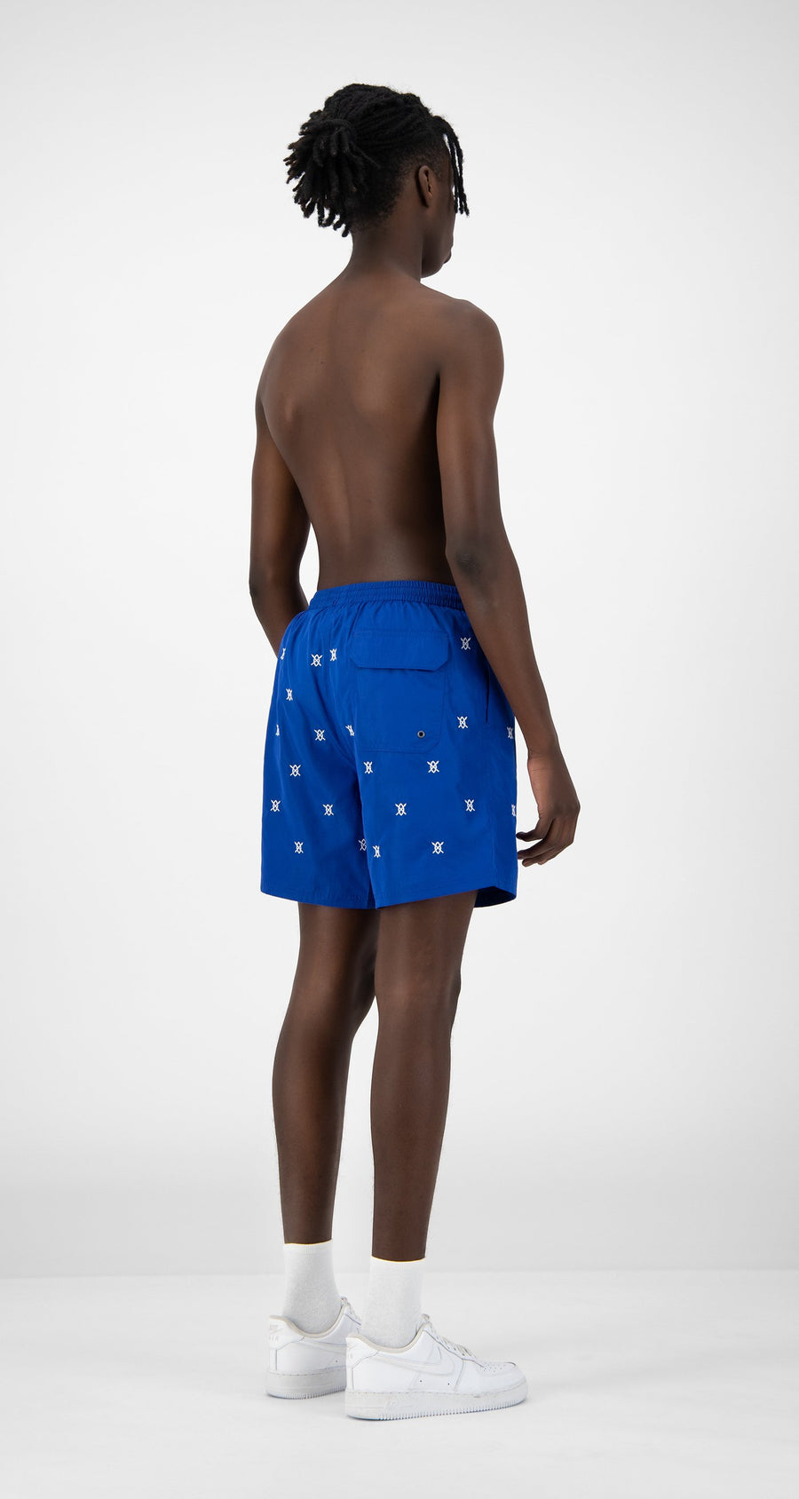 Daily Paper - Blue Eswim Shorts - Men Rear