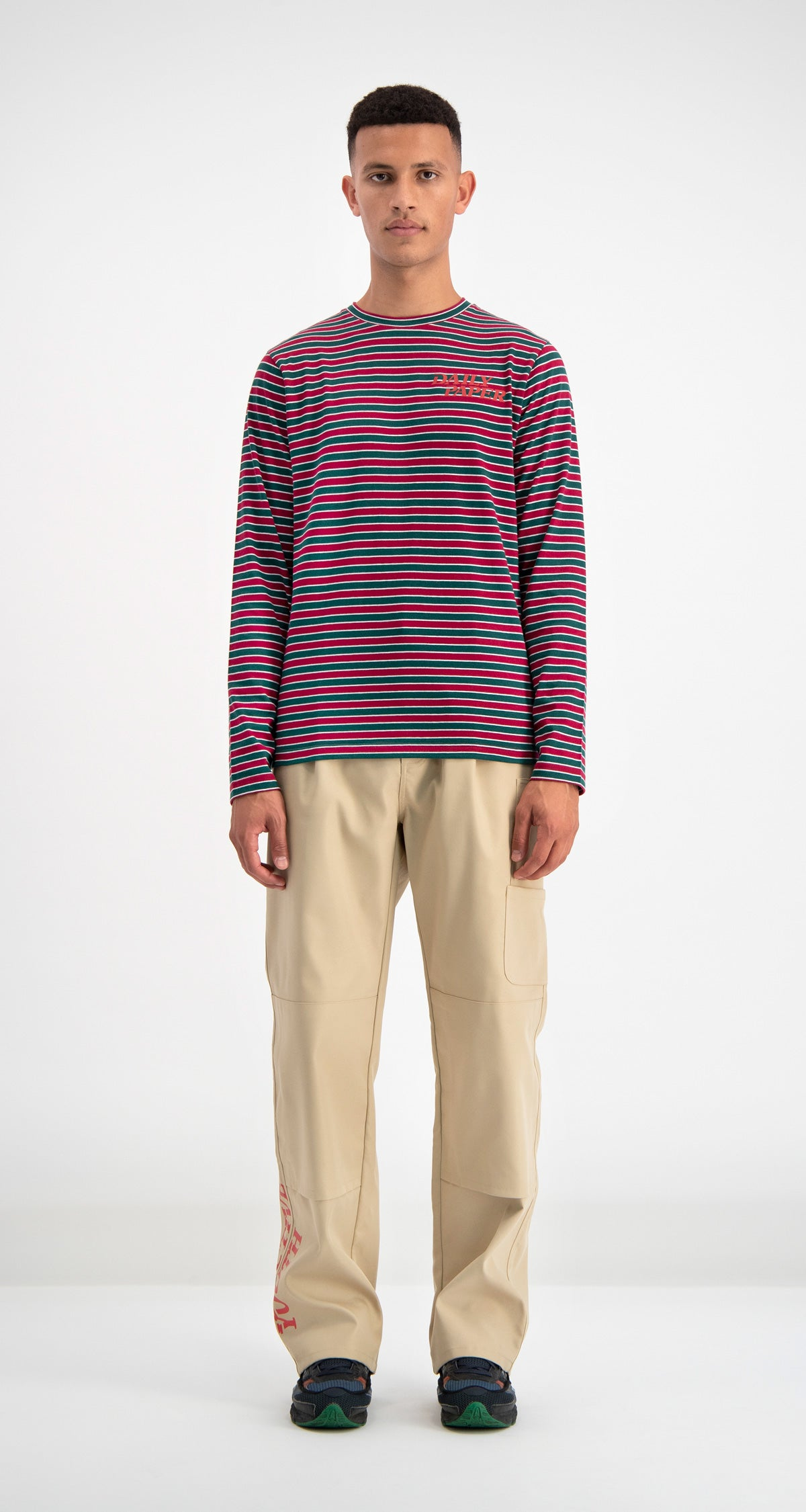 Daily Paper - Green Striped Daso Longsleeve Men Front