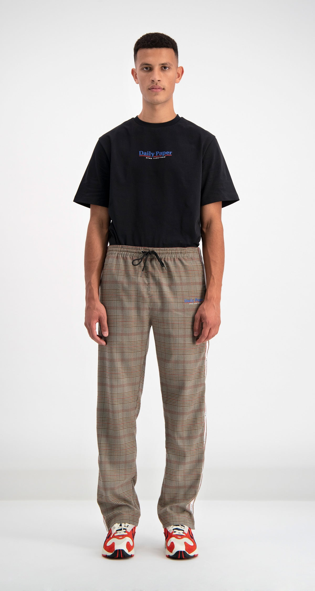 Daily Paper - Brown Checked Dezip Pants Men Front