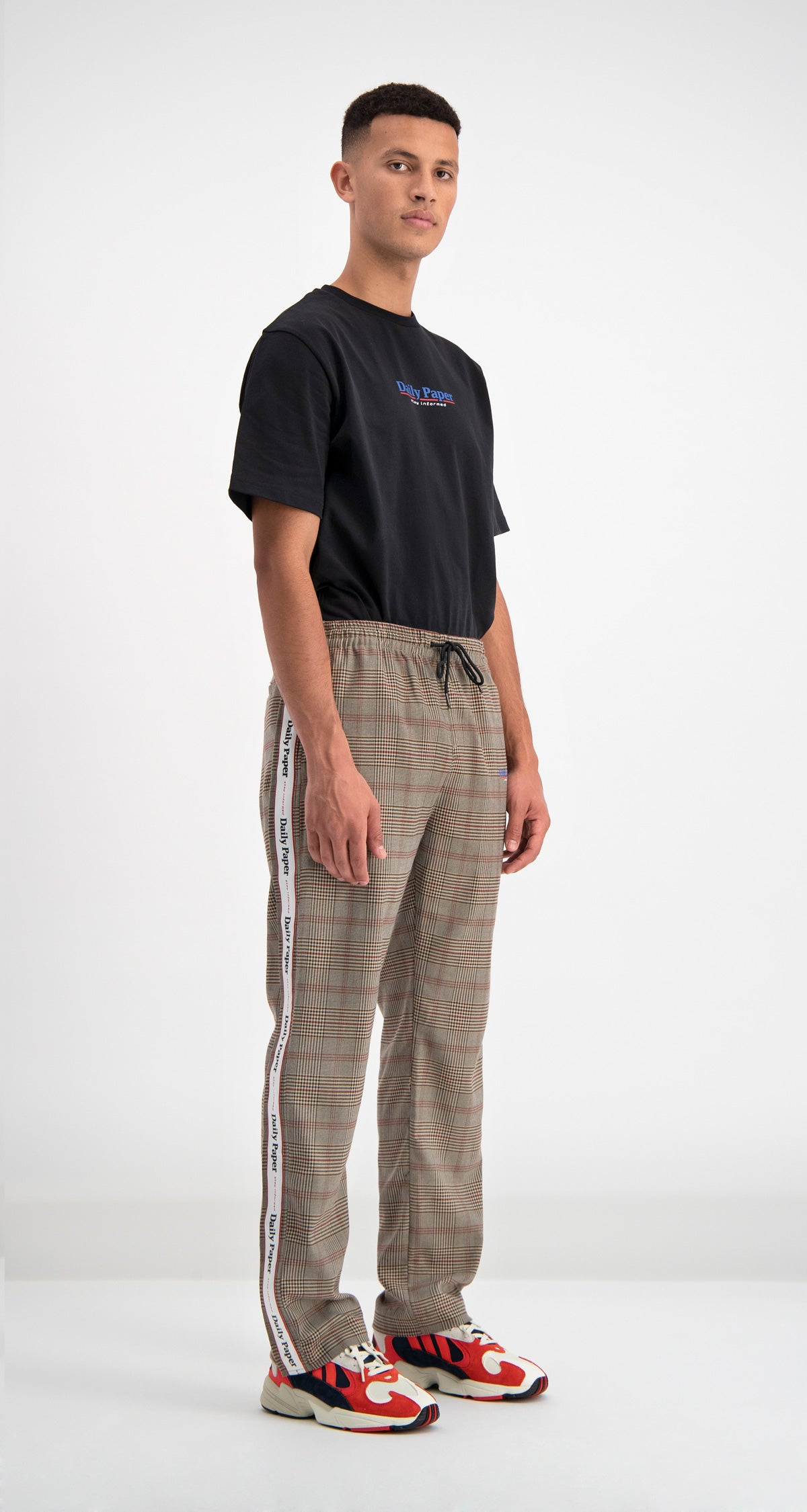Daily Paper - Brown Checked Dezip Pants Men Rear