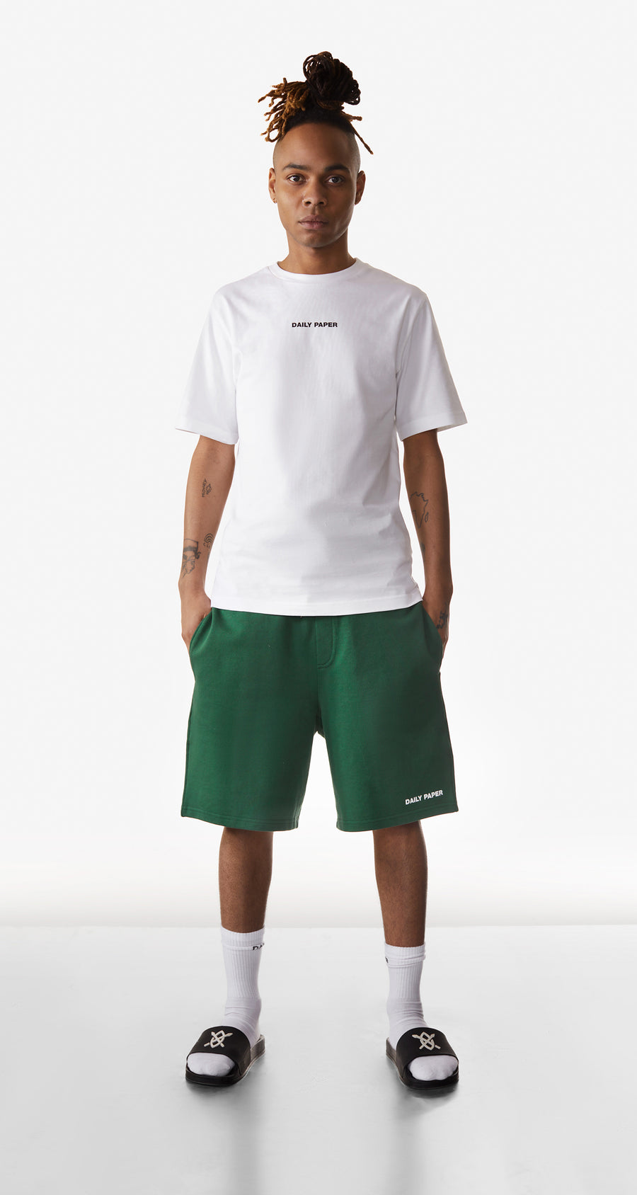 Daily Paper - Pineneedle Green Refarid Shorts - Men Rear