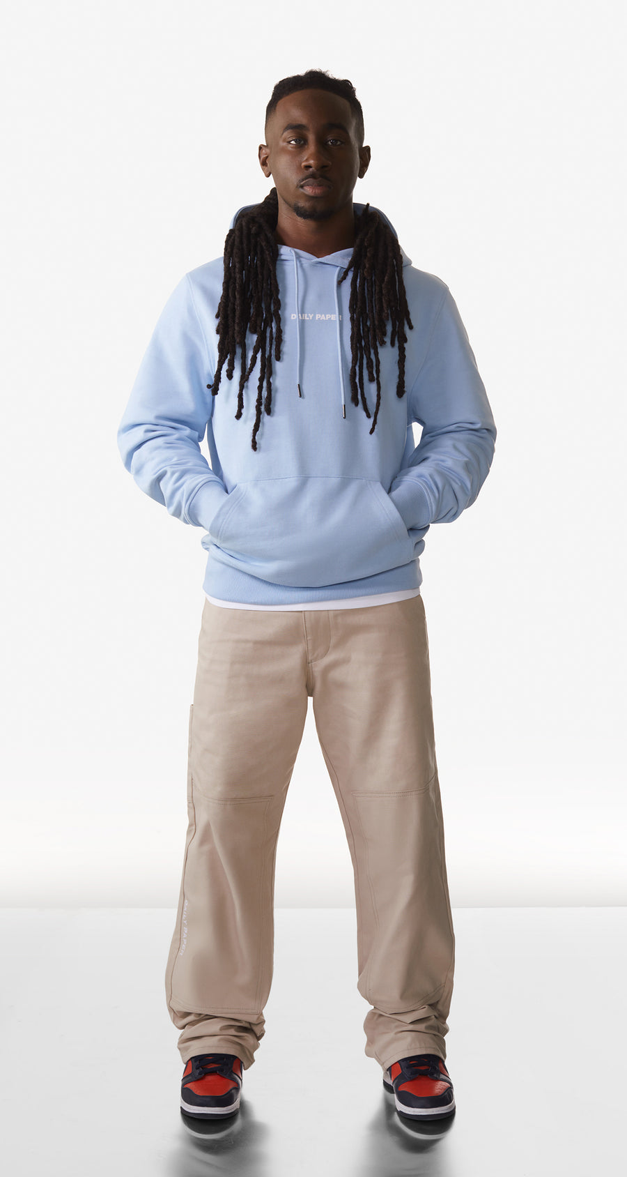Daily Paper - Chambray Blue Remulti Hoody - Men Rear