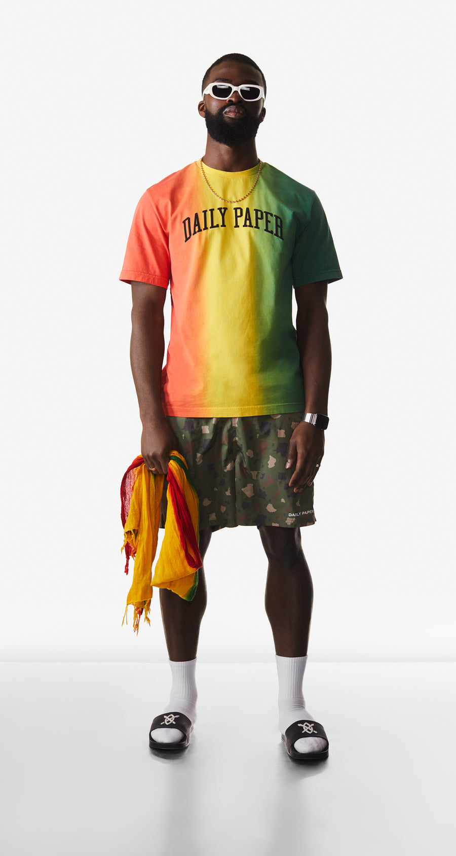 Daily Paper - Red Yellow Green Rebo T-Shirt - Men Rear