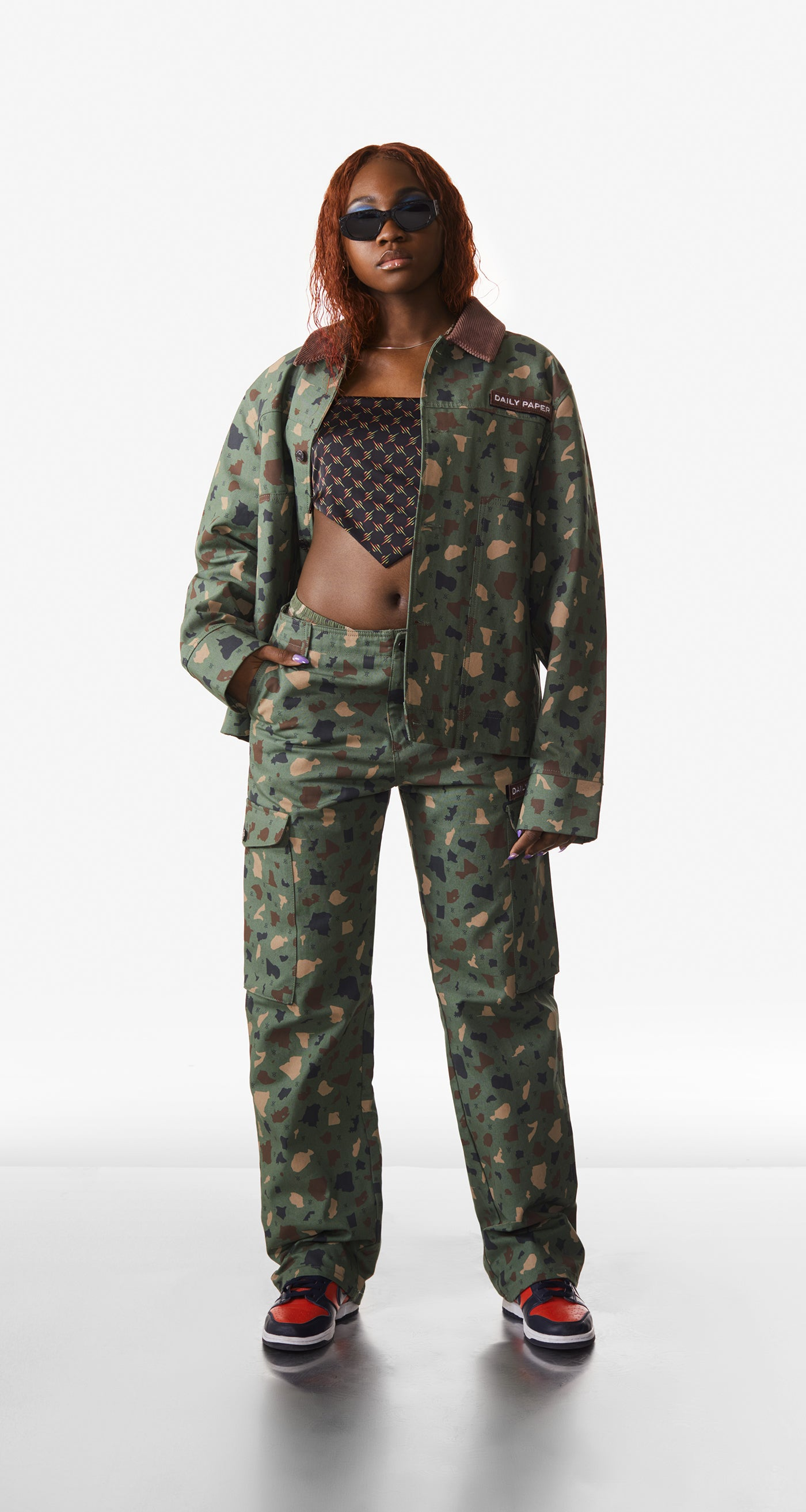 Daily Paper - Green Camo Recomo Coach Jacket - Women Rear