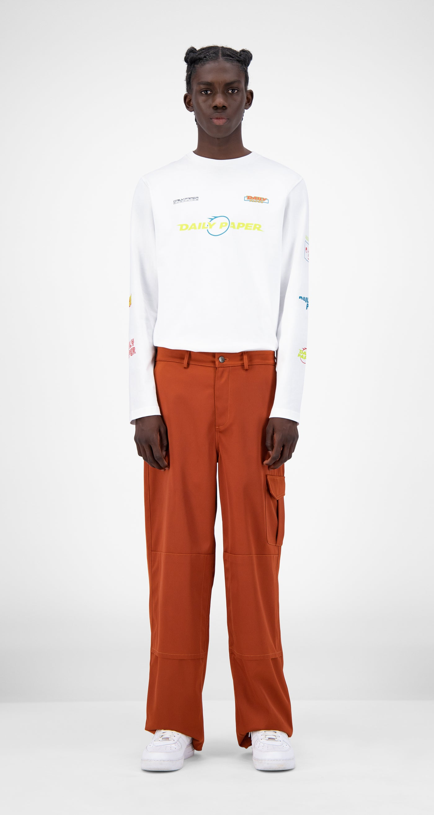 Daily Paper - Rust Jefac Satin Pants - Men Front