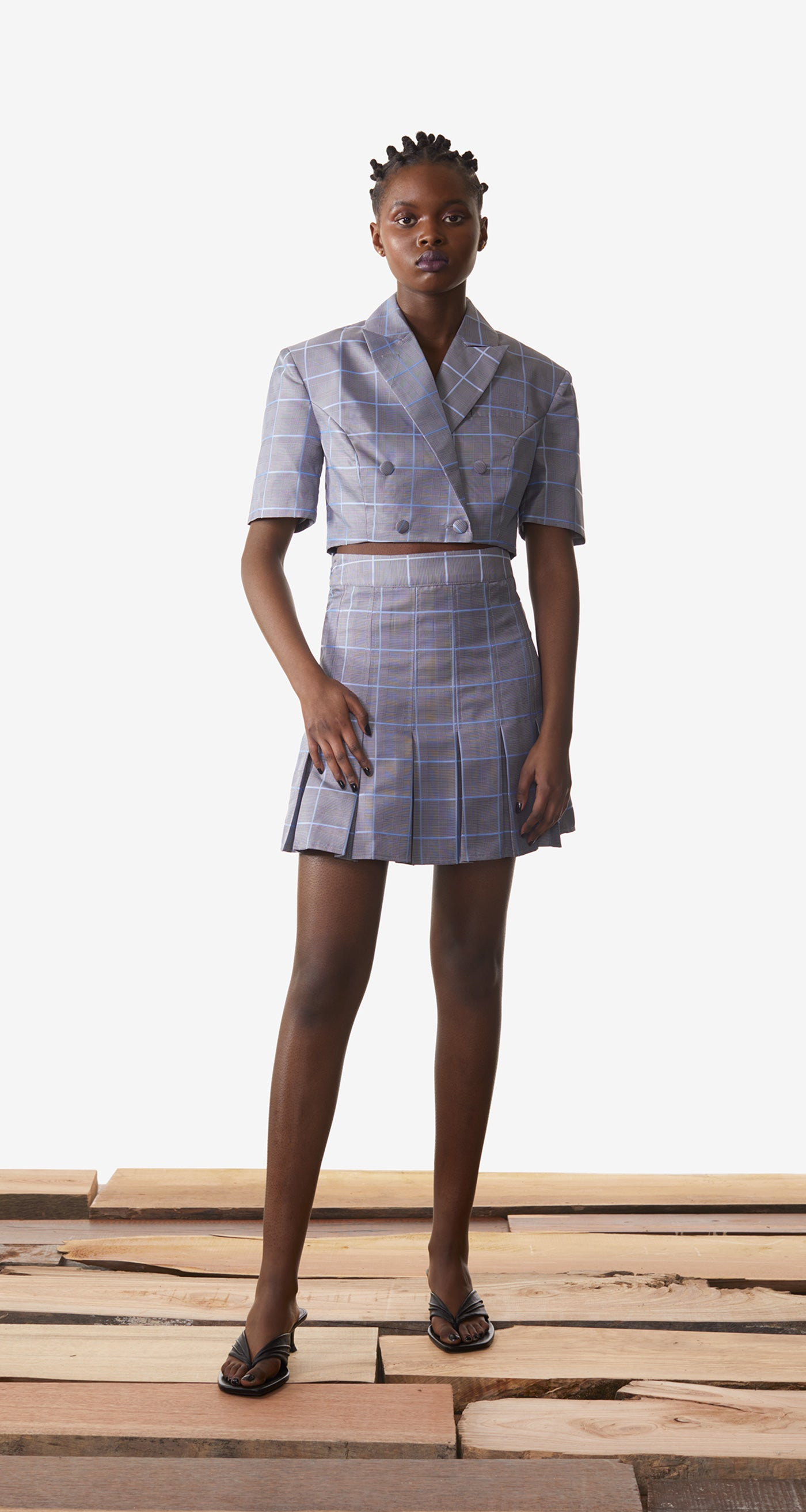 Daily Paper - Light Blue Checked Kalena Blazer - Women Rear