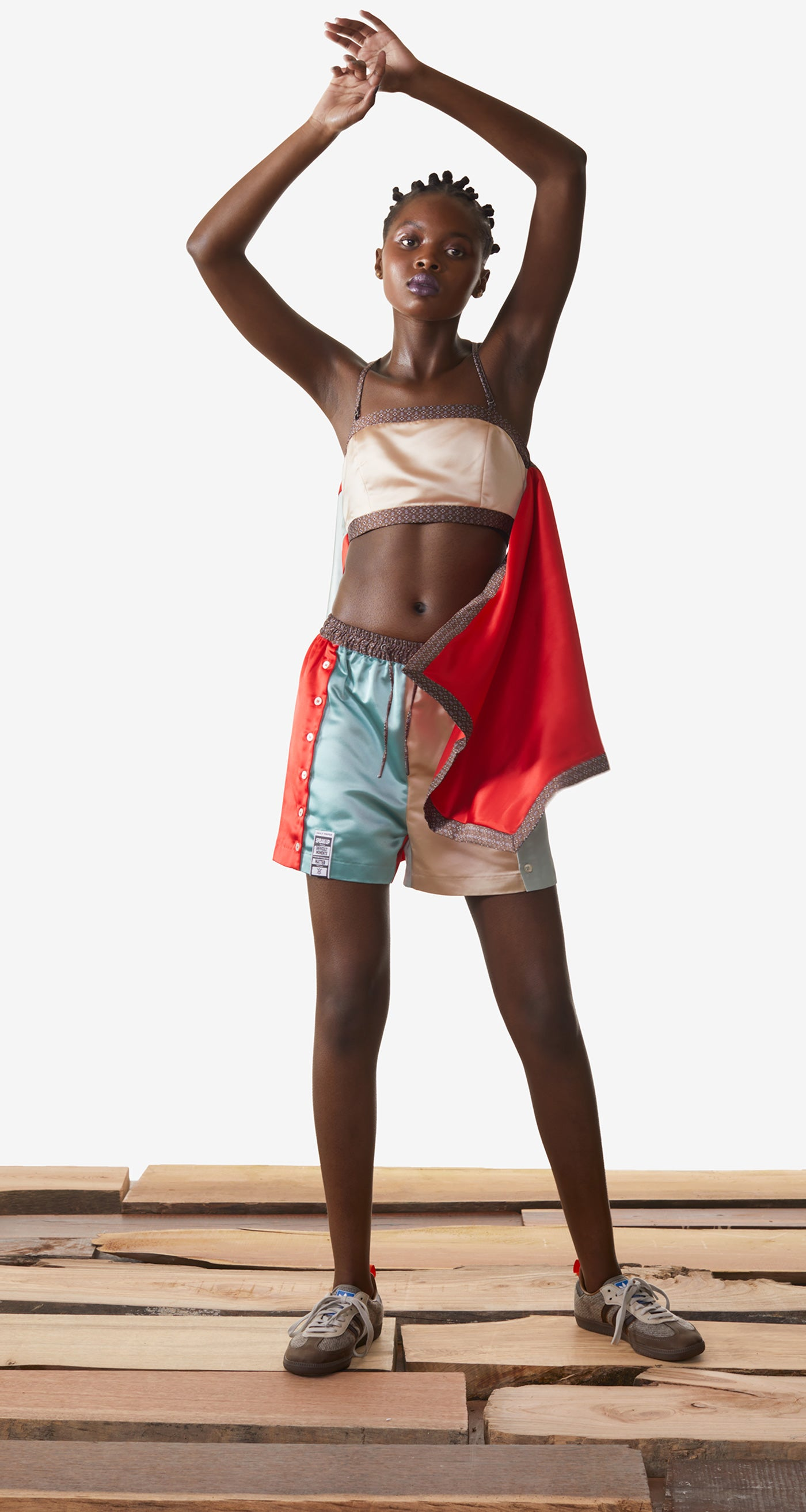 Daily Paper - Champagne Red Kacela Shorts - Women Rear